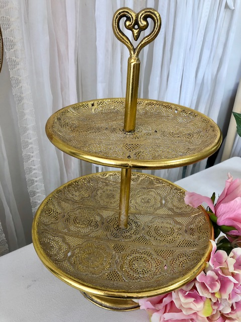 Gold 2 tier cake stand