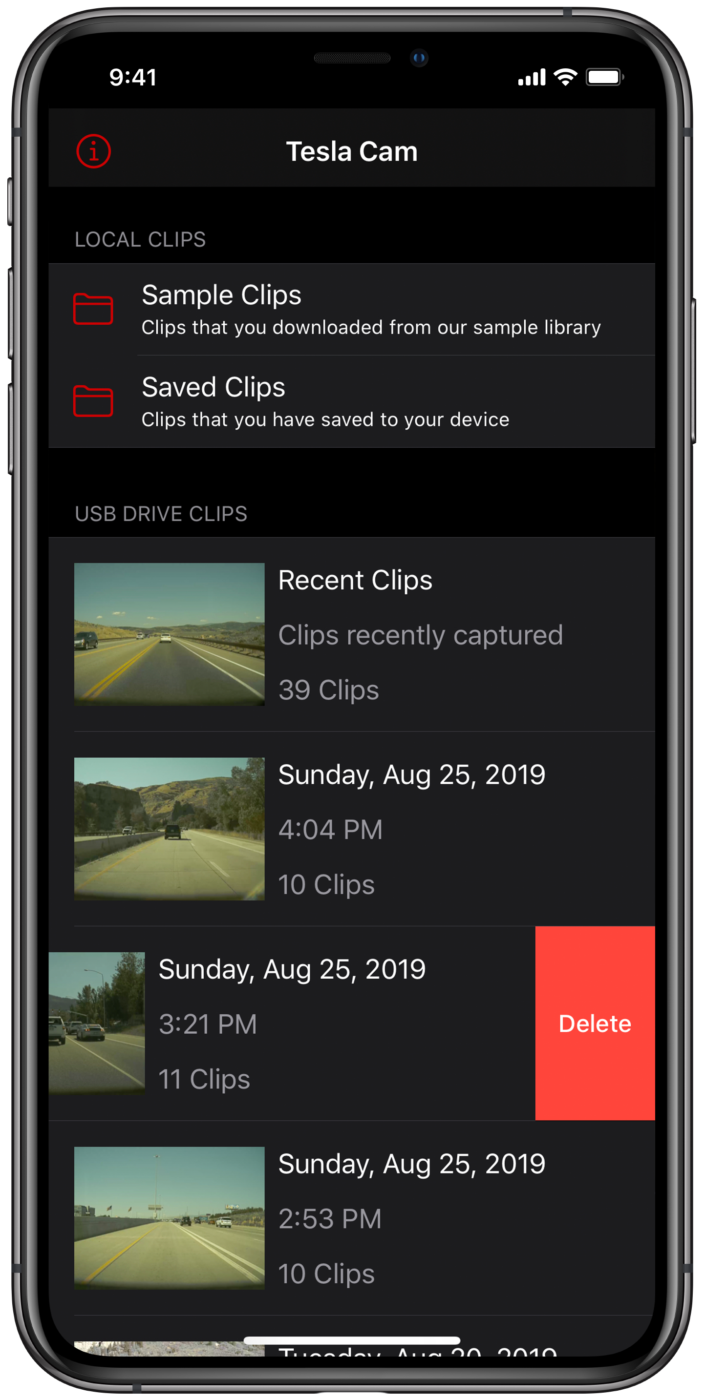 Keep your clips organized - Cam Viewer has previews of folders as well as clips. Clips can be saved to the phone for later review. You can delete individual clips or entire folders making cleanup quick and simple.