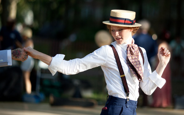 Suspenders + Straw Boater Hat