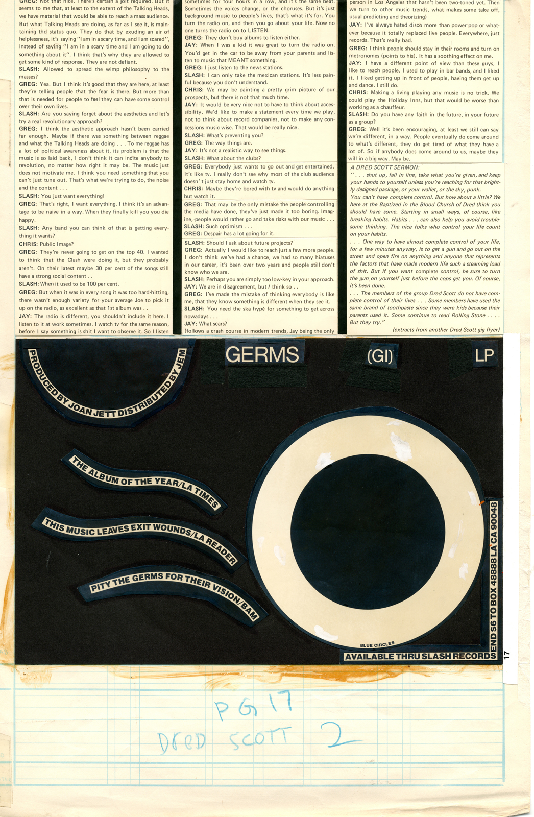 Germs (GI) LP Add - Slash Magazine