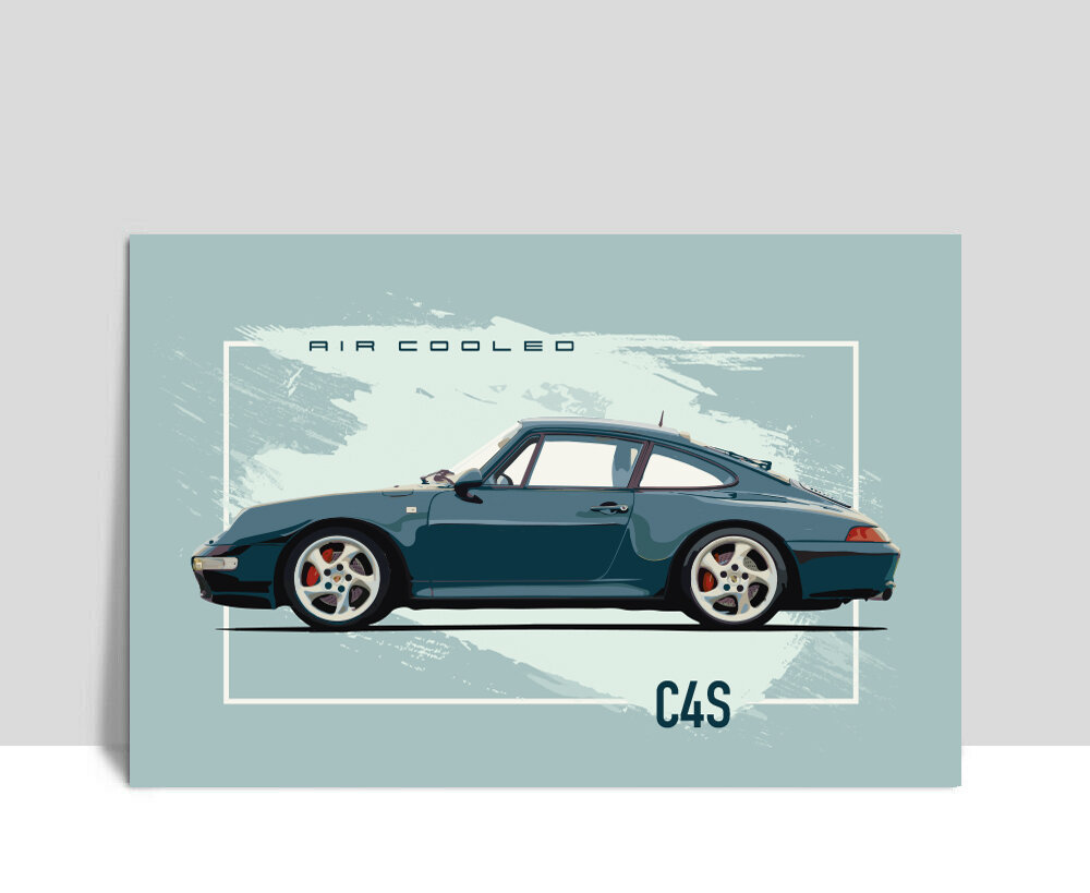"Illustration Art Print on Aluminum 24/""x 36/"" 59 Brumos 911 Porsche"