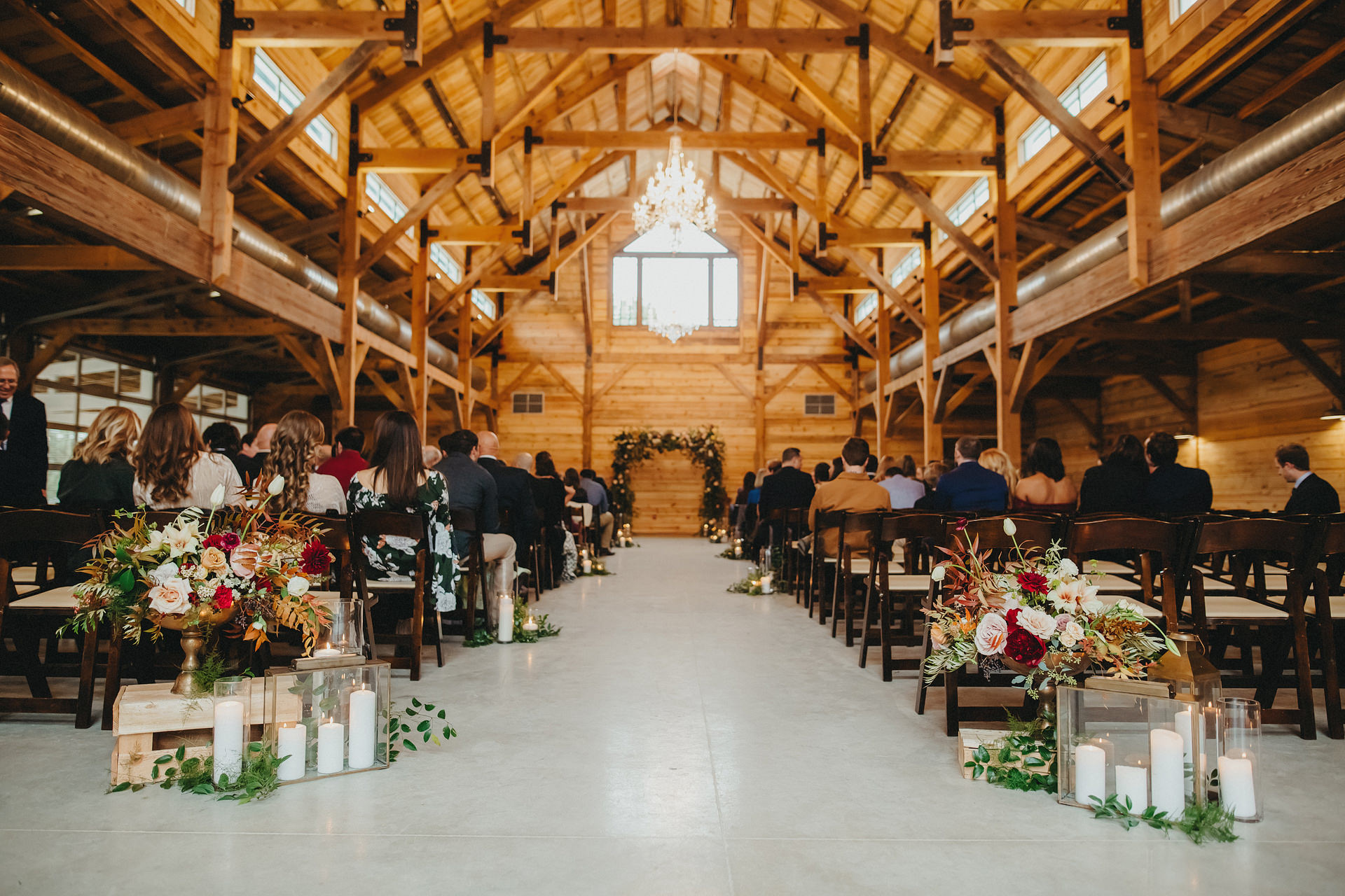 The Addison Grove barn all dressed up by  Gypsy Floral for Sarah + Travis to say I do