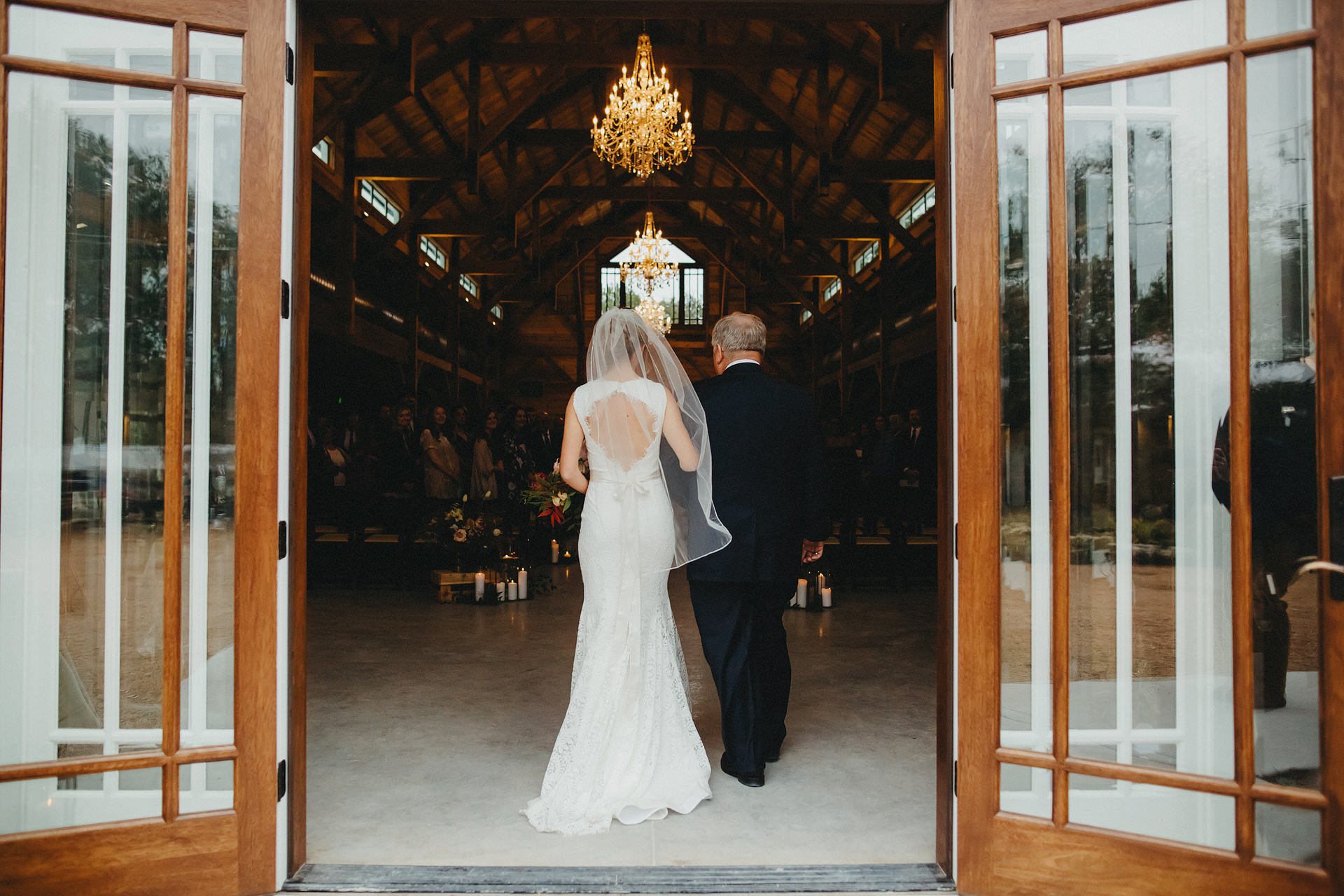 Ceremony entrance with  The Addison Grove barn doors