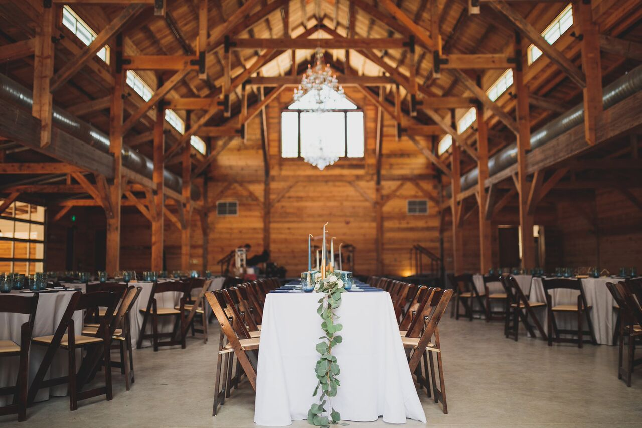 The Addison Grove barn all dressed up for Allison + Alex.