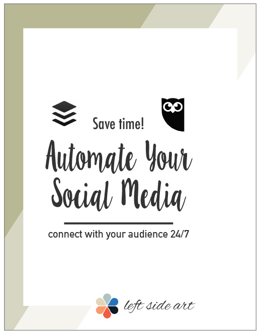 Save time and automate your social media - connect with your audience 24/7! Read more here. -left side art