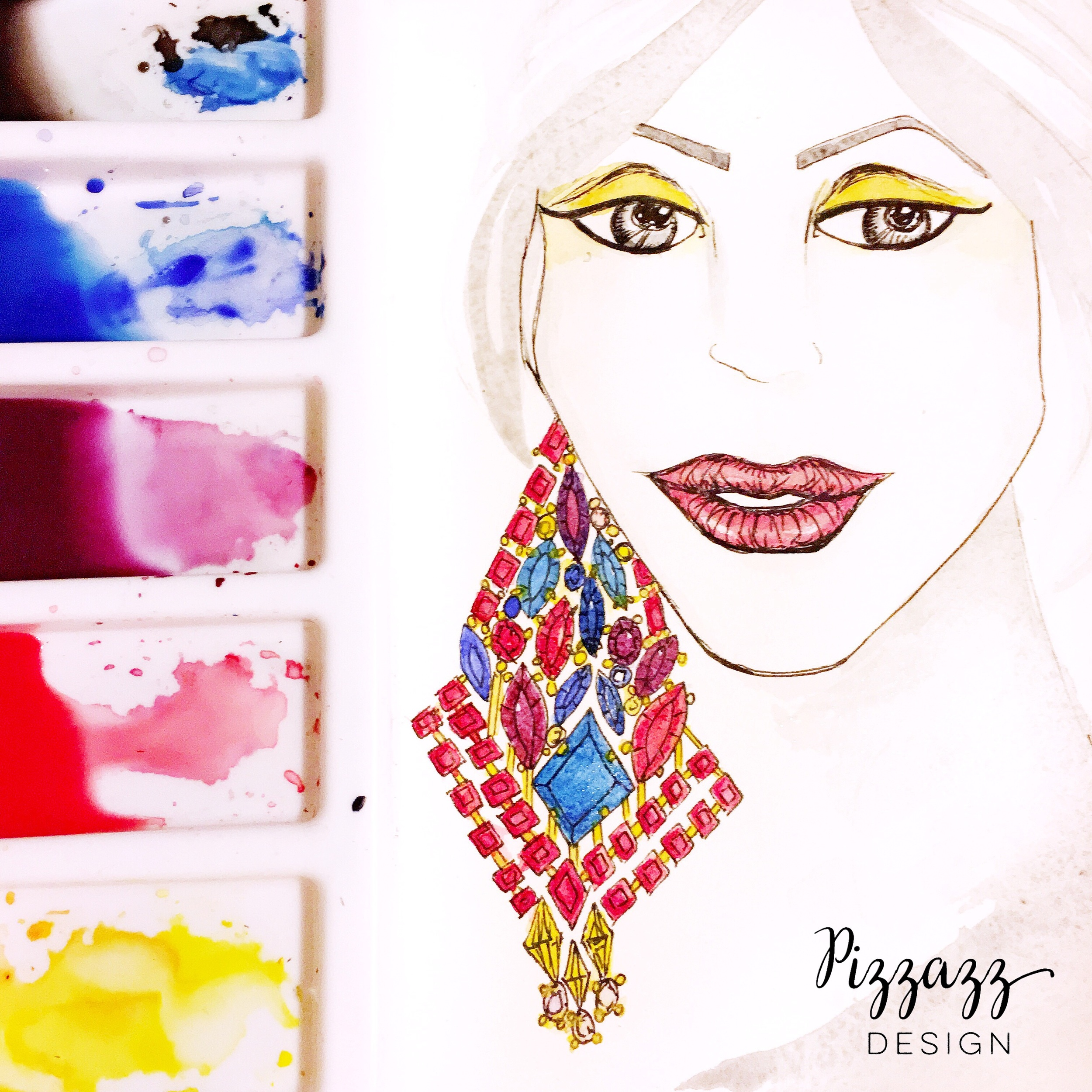Holiday Winter Portrait Fashion Illustration. Pizzazz Design.