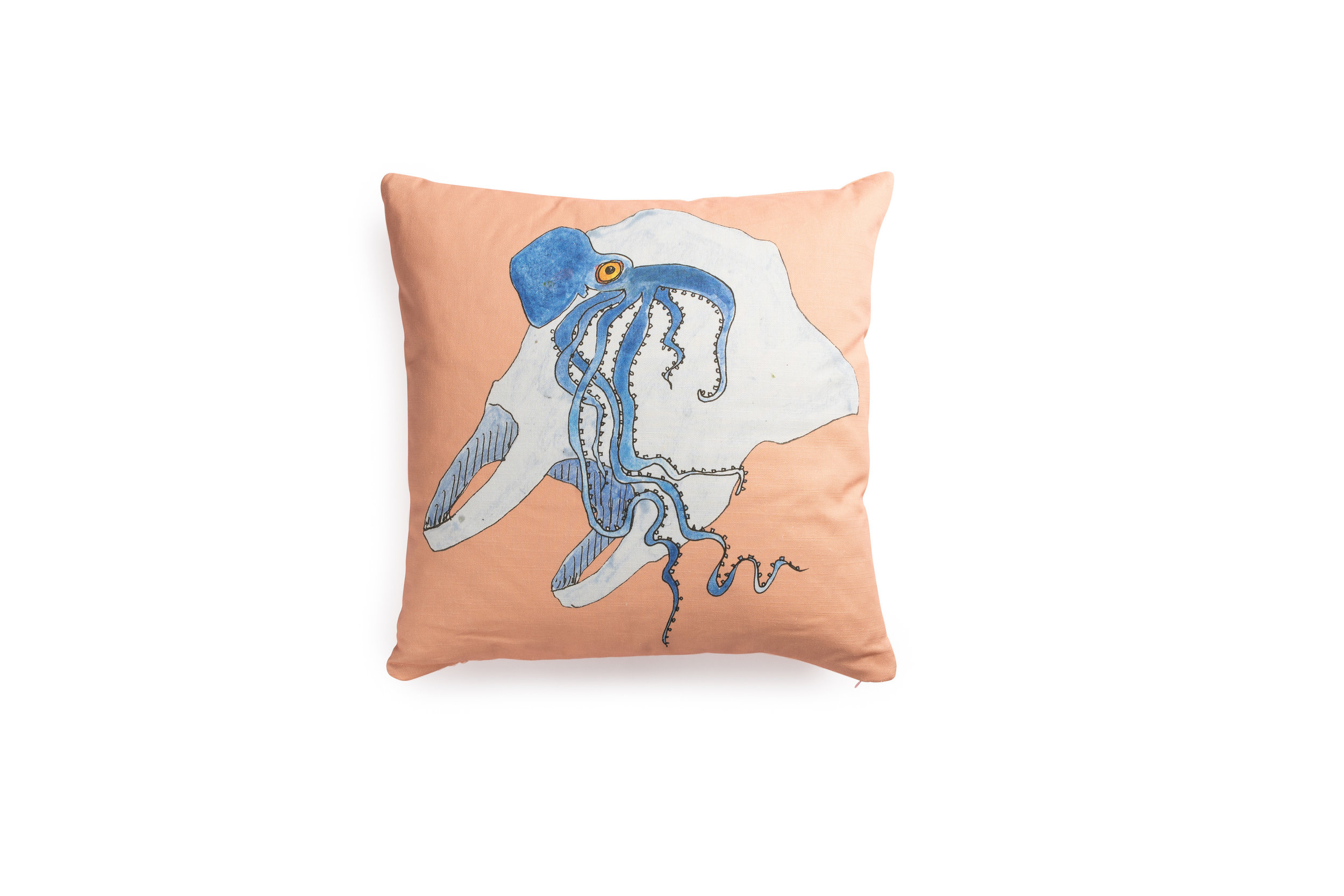 Pink Cushion with Octo by Anna Surie