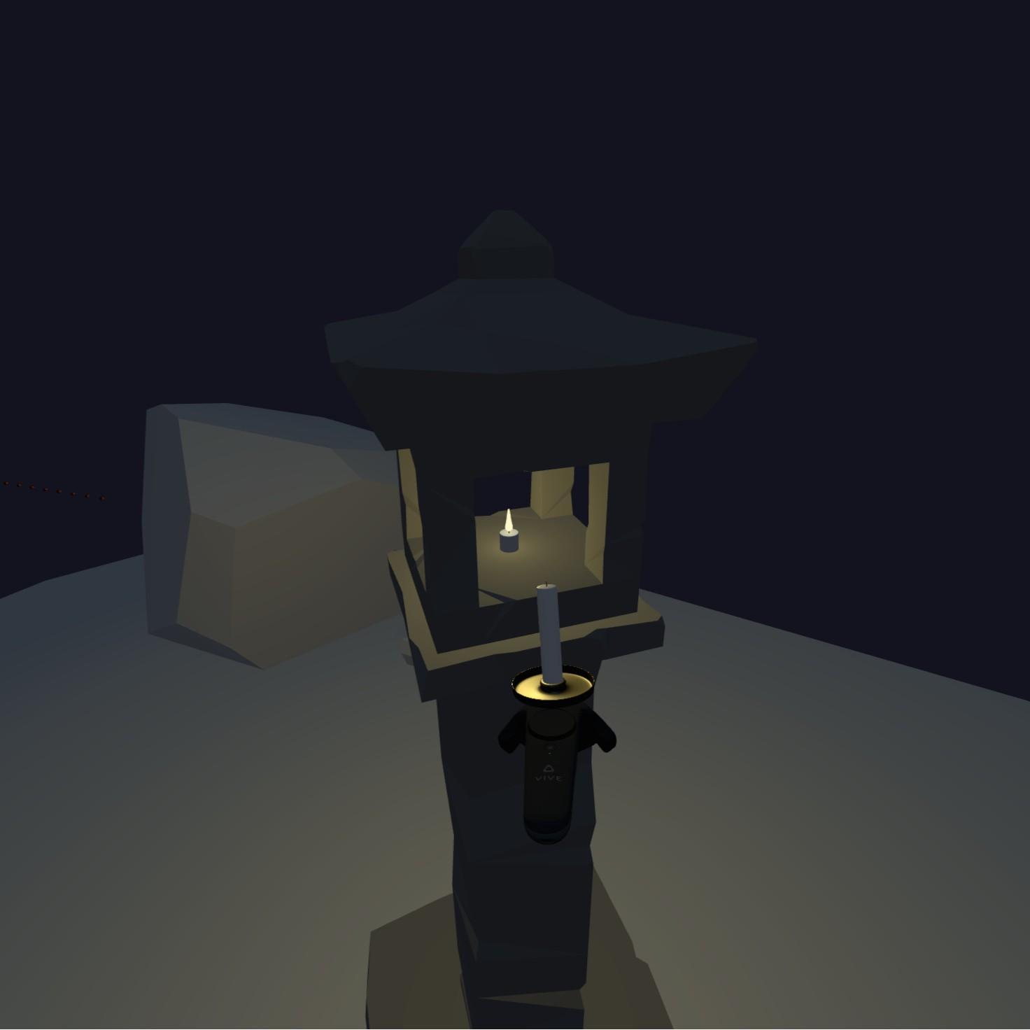 An unlit candle, approaching a lit lantern flame.