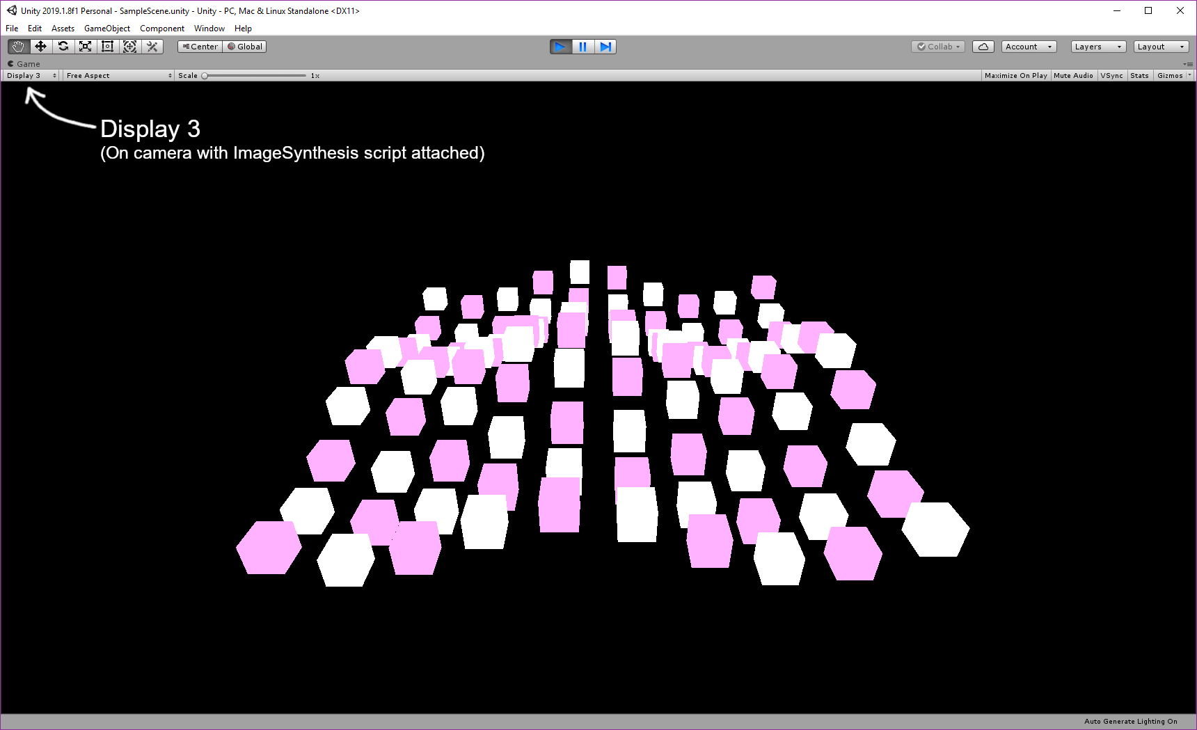 Display 3 will show objects segmented by  layer , rather than object id.