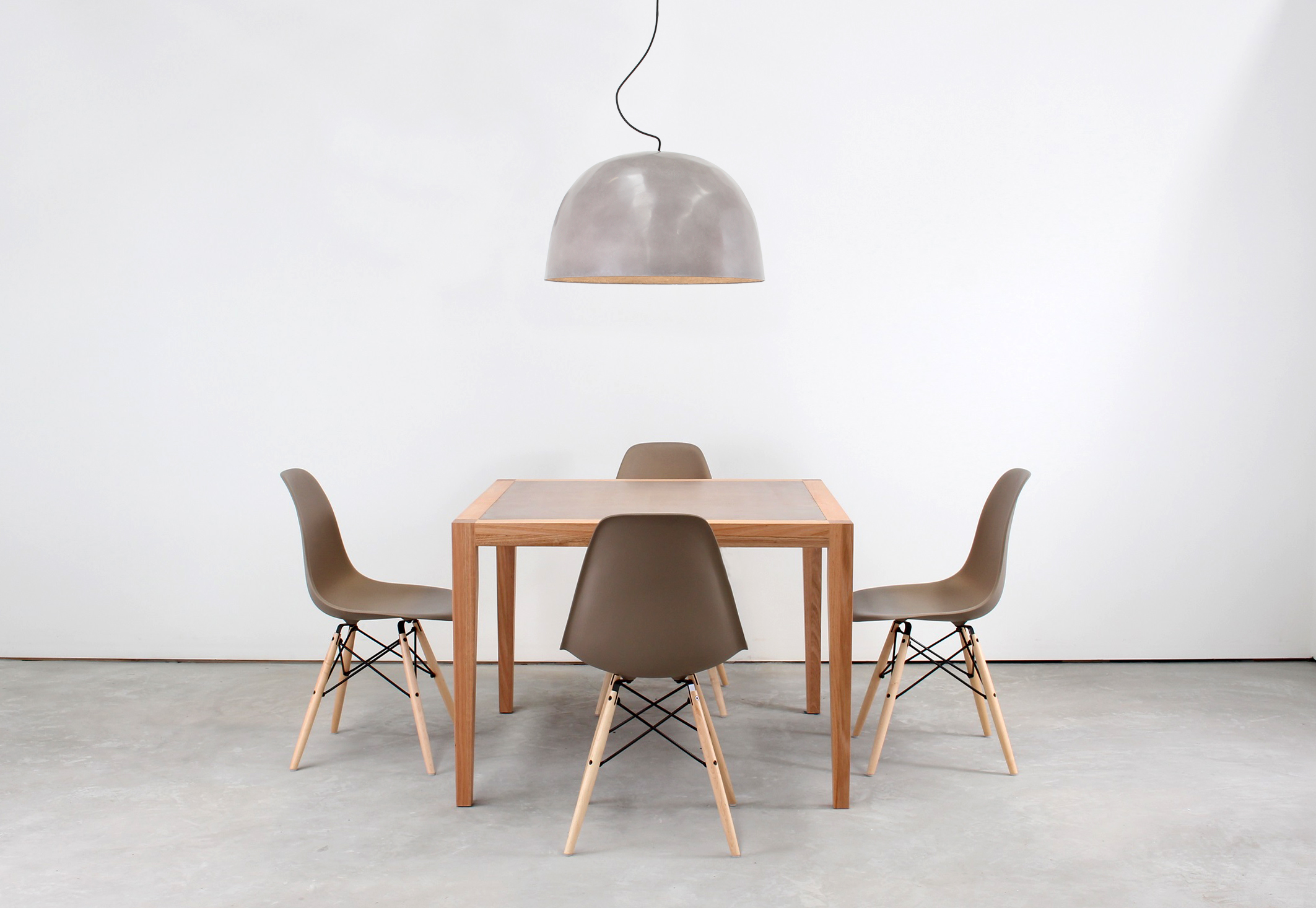 Neli Timber and Concrete Dining Table Set - 4 Seat with Snowi Concrete Pendant Light