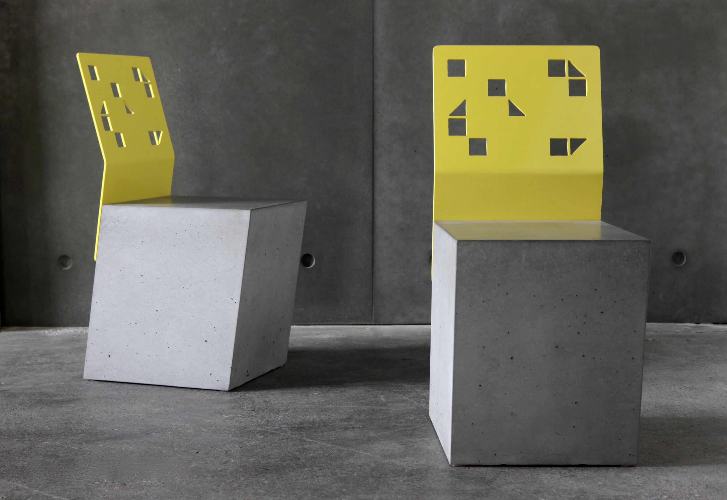 Boksi Concrete Stool - Concrete Seat and Steel Backrest