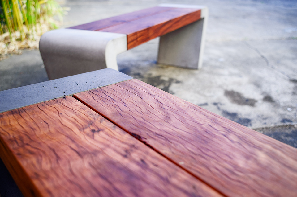 Istu Concrete Bench Seat - Reclaimed Ironbark and Concrete
