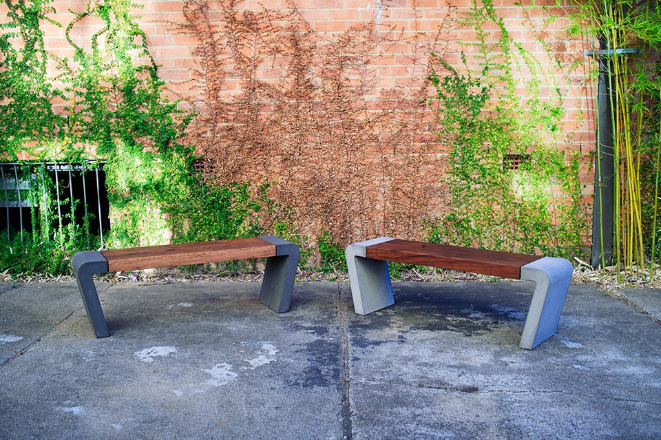 Istu Concrete Bench Seat - Reclaimed Blackbutt / Ironbark and Concrete