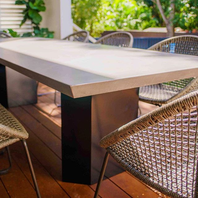 The angled detail on this BLADE table adds a little something edgy. No pun intended.  #concrete #table #outdoorliving #architecture #interiordesign #landscapearchitecture #design #madeinaustralia