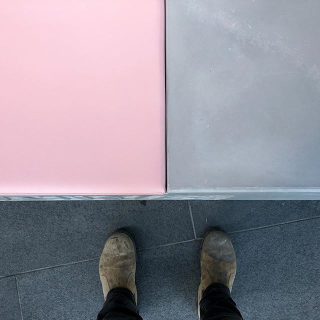 MOOP seat concrete / upholstered vinyl detail. #concrete #vinyl #upholstery #architecture #interiordesign #landscapearchitecture #pink #furniture #madeinaustralia