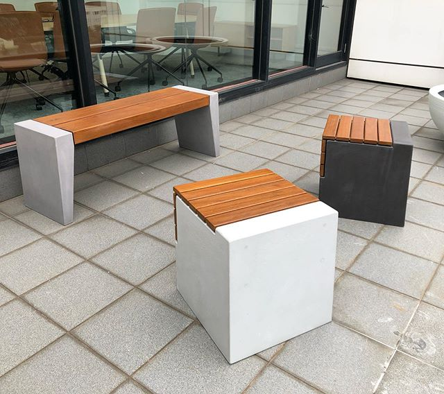 Fiksu bench seat and Boksi stools hanging out in Melbourne. #concrete #seating #architecture #interiordesign #landscapearchitecture #madeinaustralia