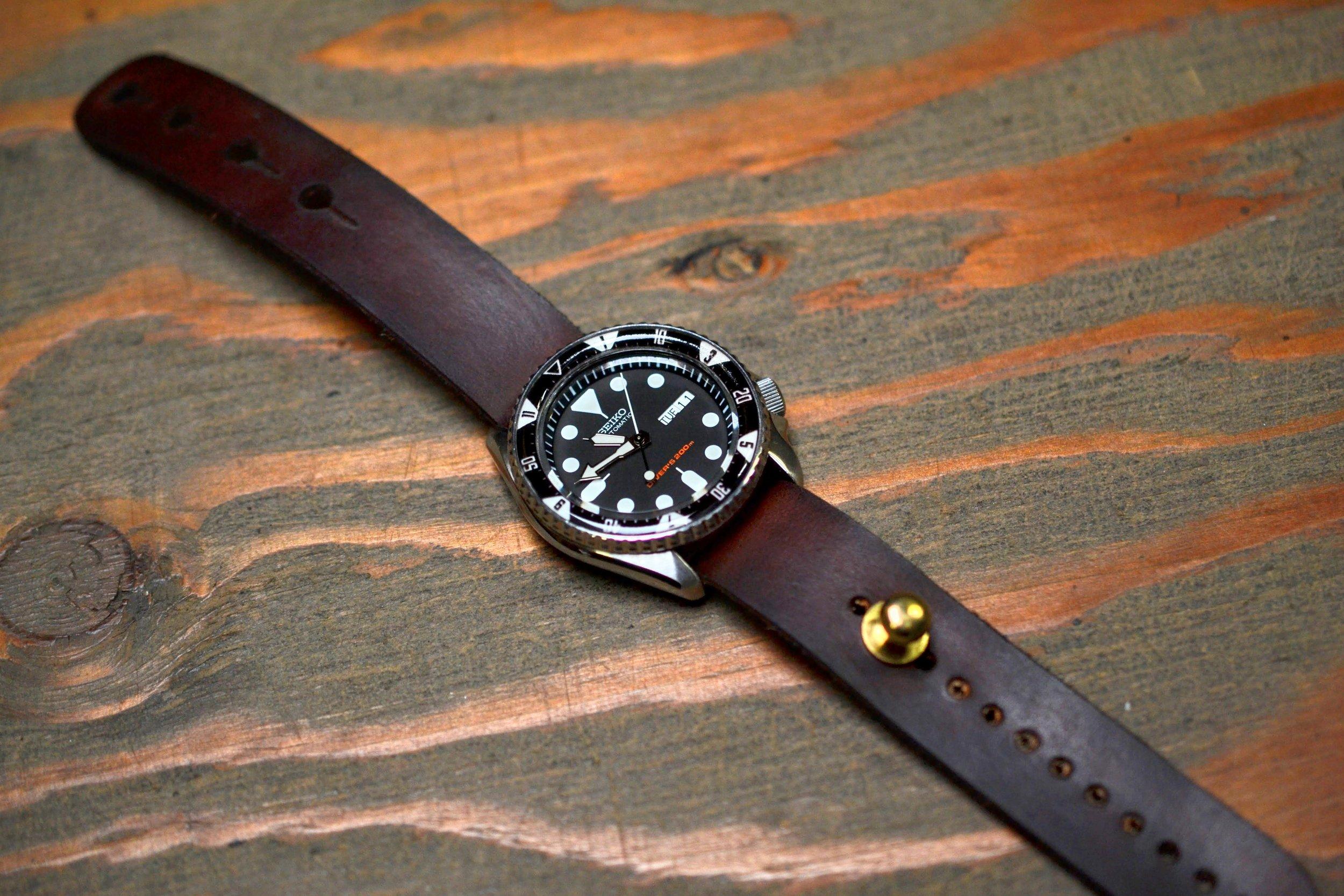 Leather Stud Watch Strap 'Redux' - Dark Brown