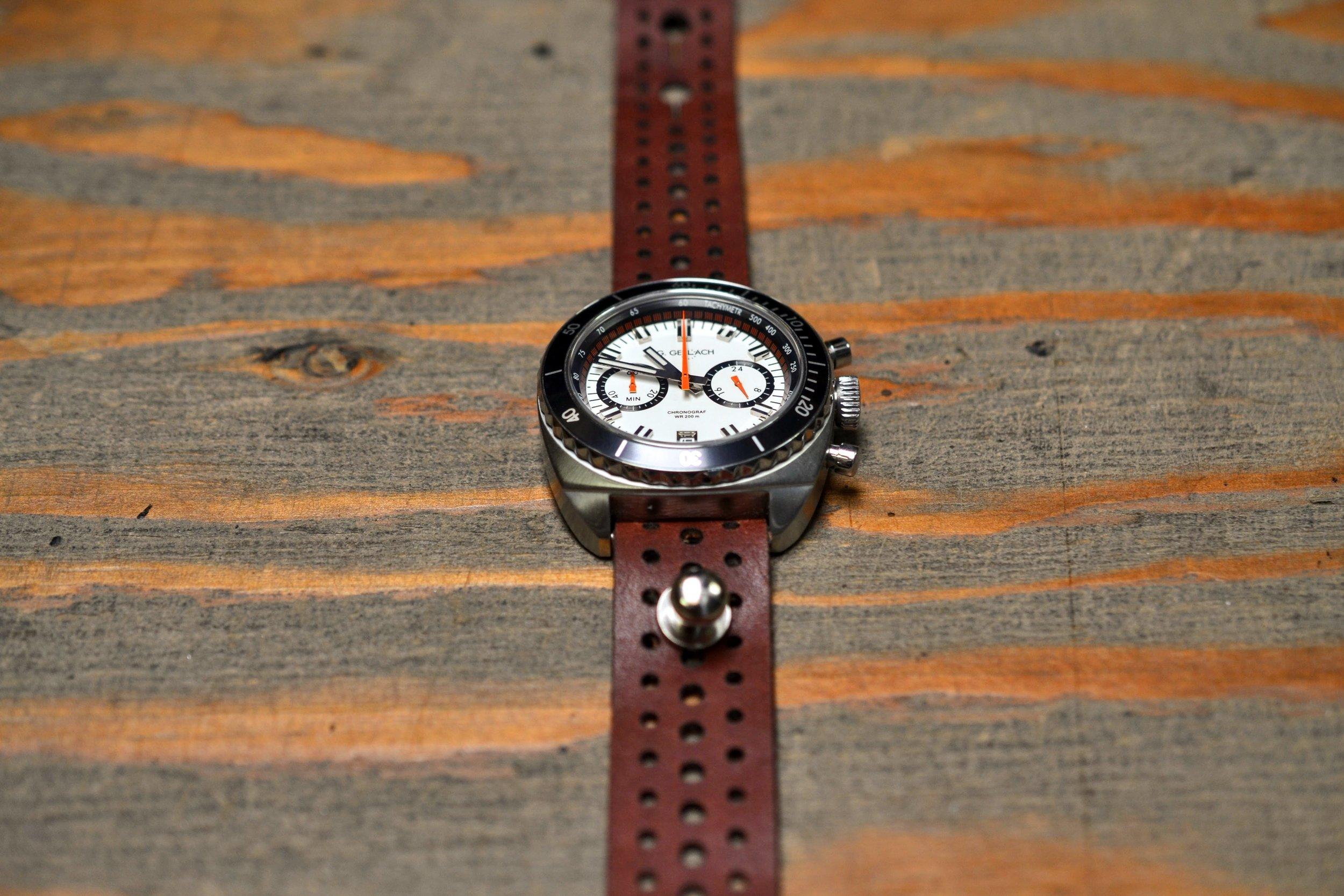 Rally Stud Watch Strap - Mahogany