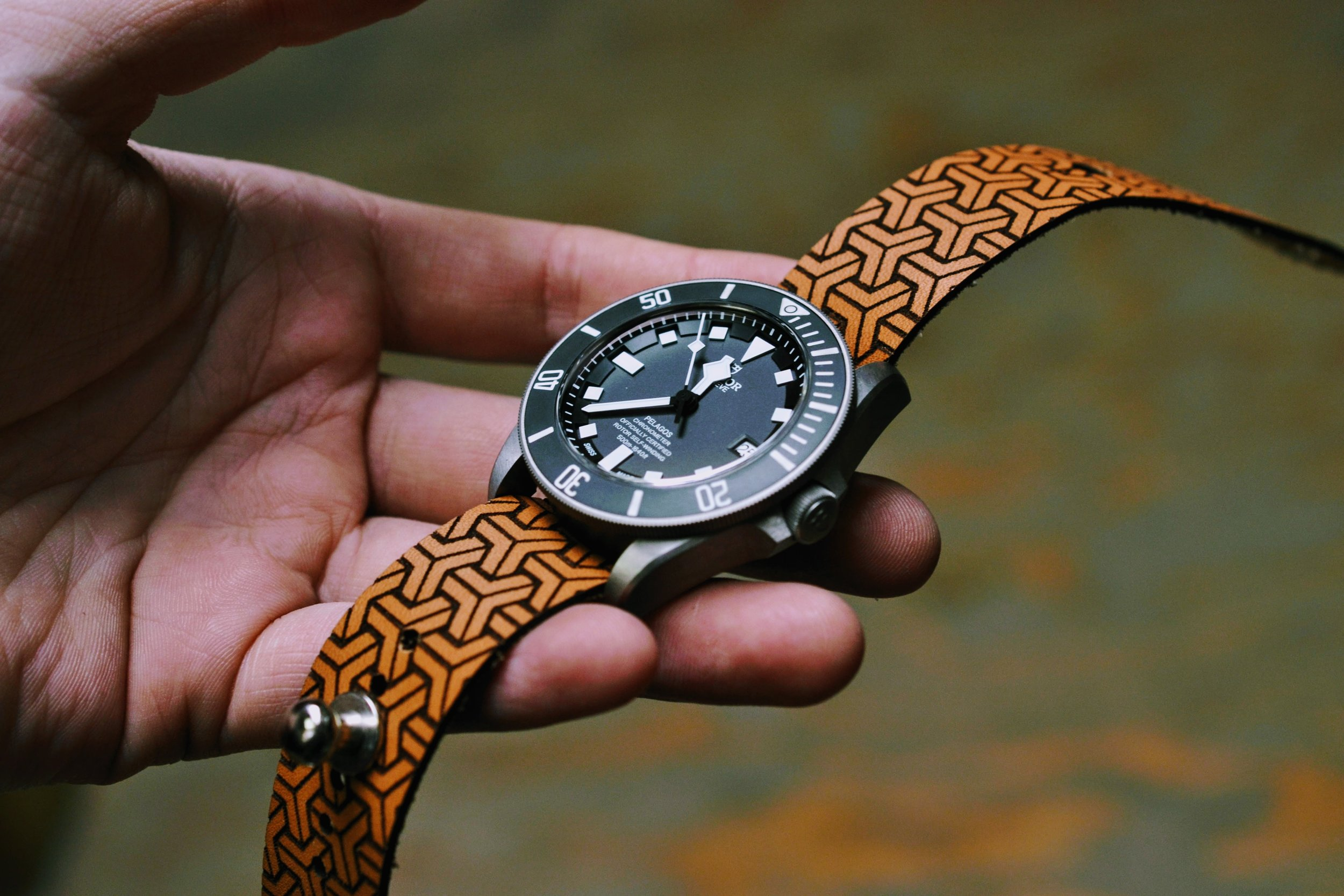 Iso-Celtic Stud Watch Strap - Natural Sun Dye