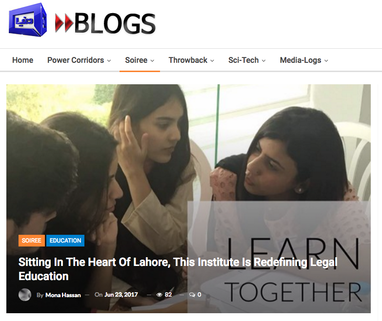 "One woman has taken it upon herself to turn the tides. ""We are disrupting legal education,"" said Ujala Akram, the dean of  Blackstone School of Law , (BSOL) in a recent conversation with me. Based in Lahore, BSOL is providing legal education to students who are, or wish to be, enrolled into the illustrious University of London LL.B. (Hons.) Program. To read the complete article  click here ."