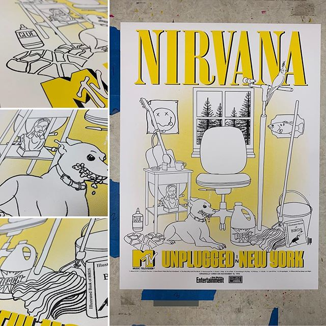 Wow, such an impactful part of my teenage years. Come celebrate the life of Kurt Cobain and Nirvana this Friday at The Guild Cinema! Posters are $20 the night of the show.  #kurtcobain #nirvana #serigrafía #burque #theguildcinema