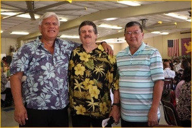 1966 alumni, Joesph Akim, Richard Ornellas and Francis Ching pose proudly at 2016 Senior Luncheon