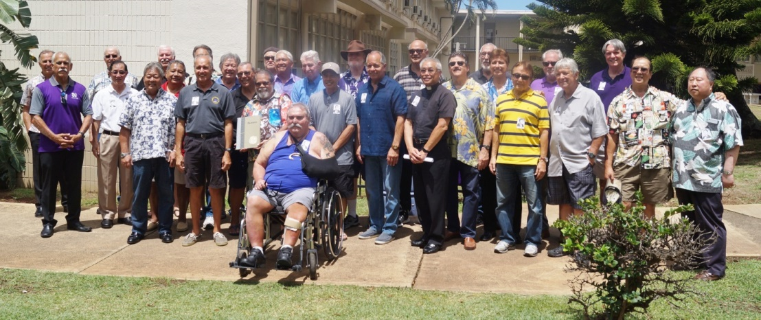 """Members of Damien Memorial's Class of 1966, ready to embark on a golden weekend celebrating the 50th anniversary of their graduation. Mahalo to the """"Pioneer Class!"""""""