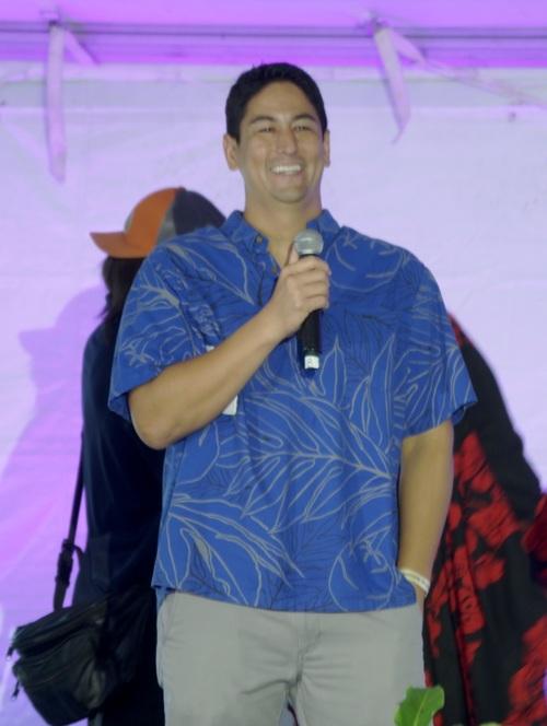 Steve Uyehara '94, emceeing at Damien's Kulalaulea 2015