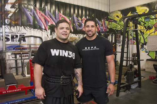 Partner Akiona '03, left, with his trainer, Kepa Gaison (Photo appeared in the Honolulu Star-Advertiser, January 12, 2016)