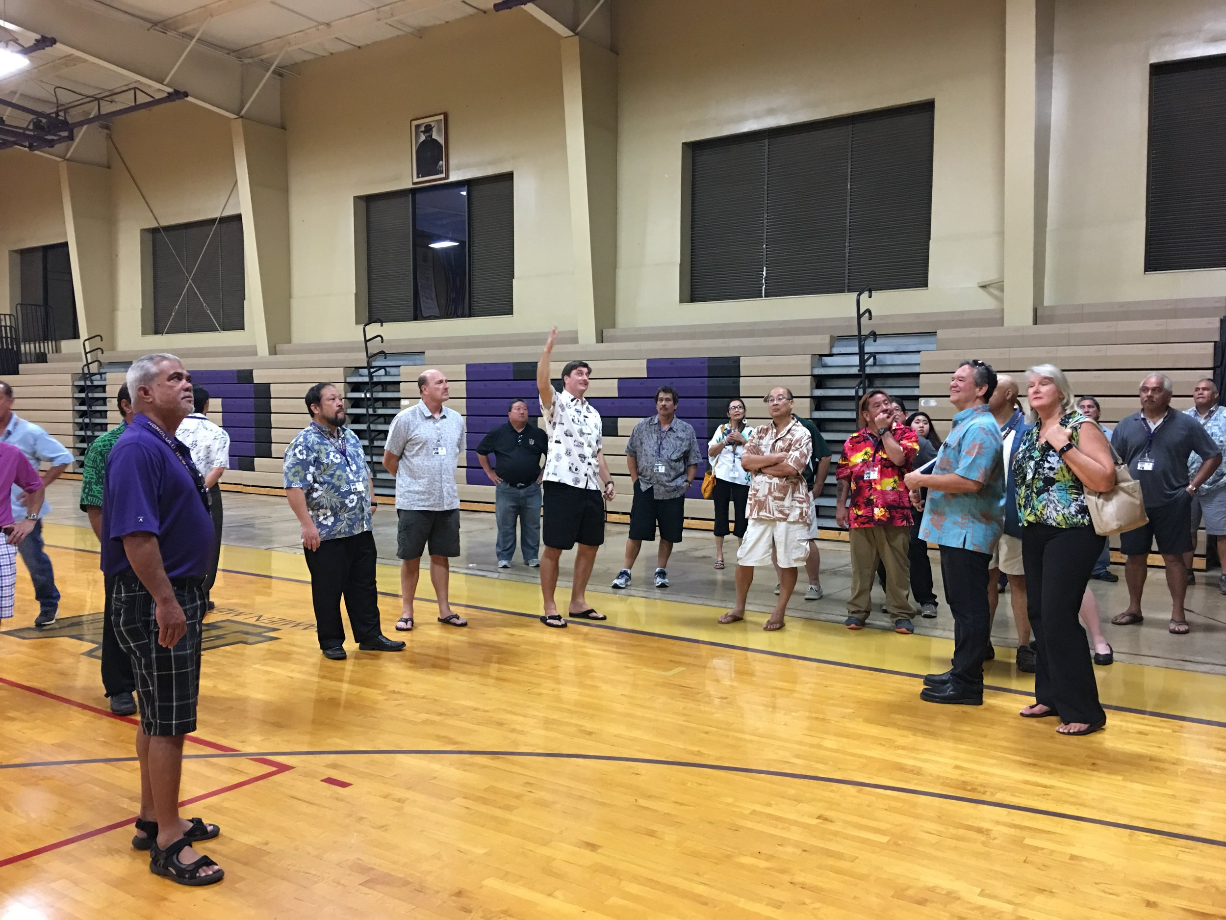 Wes Porter with Class of 1976 in our School Gymnasium.