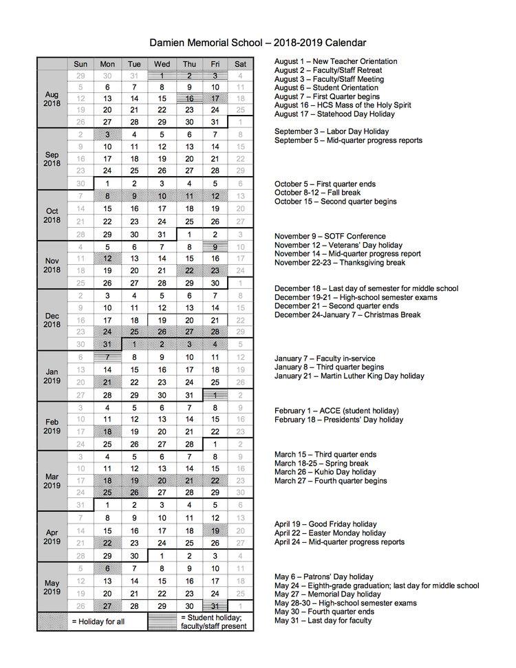 2019 2020 School Calendar Damien Memorial School