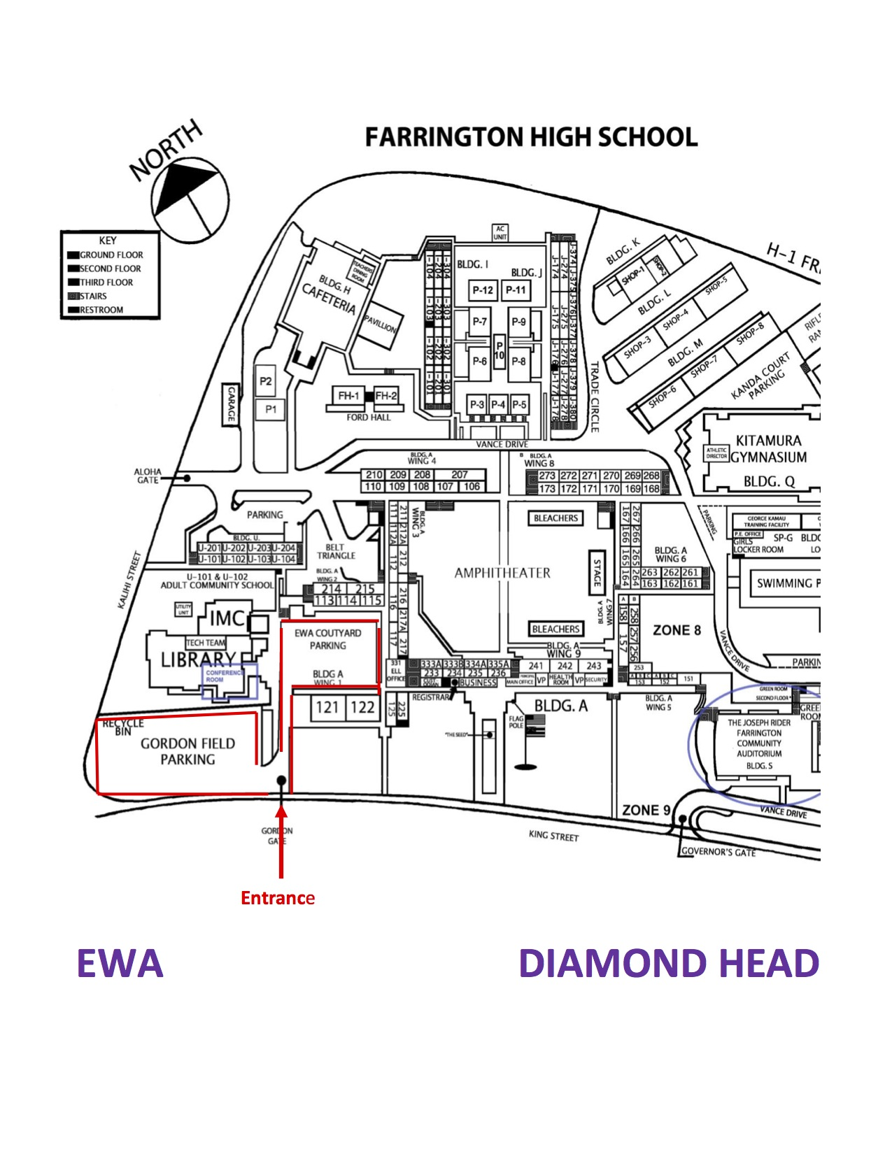 Farrington High School Parking - Click to see a larger image.
