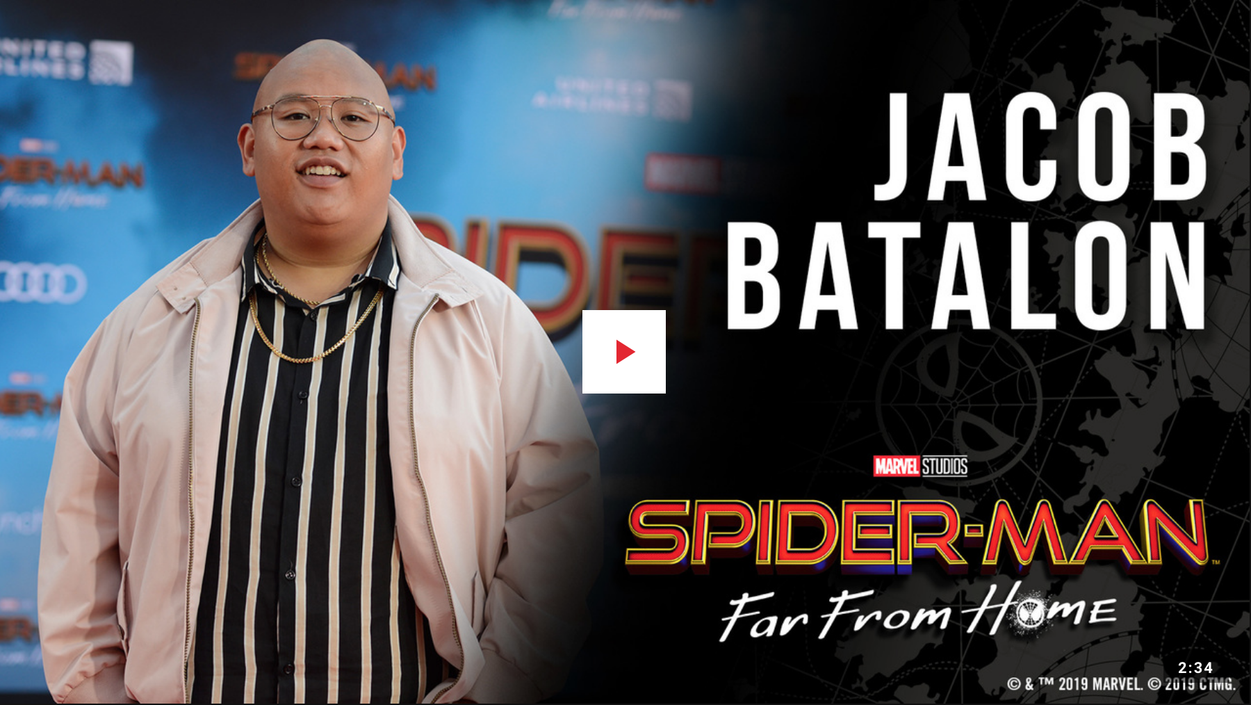 Click on the image to view Jacob Batalon's interview at the premiere.  Image from marvel.com
