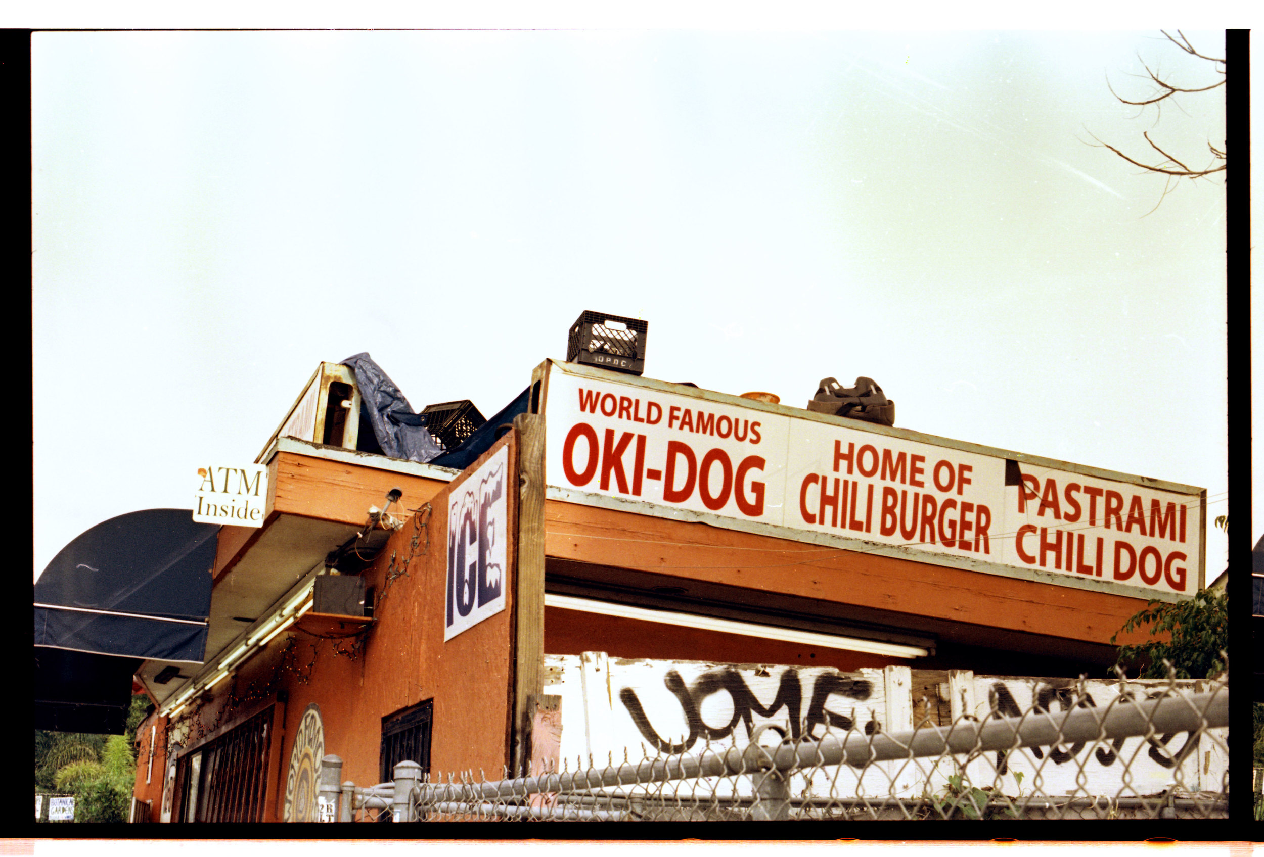 The World Famous Oki-Dog, home of the chili burger.