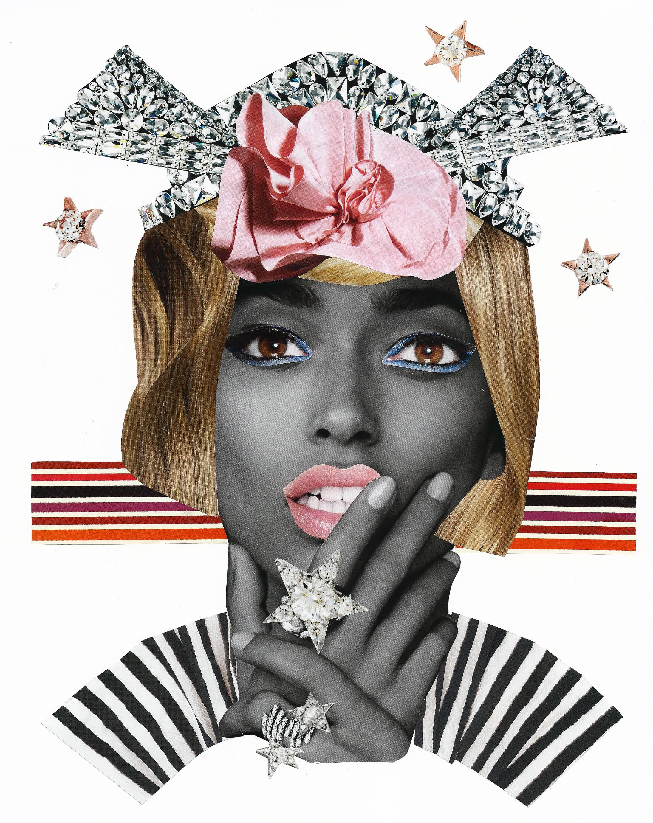 "Stella, Collage on paper 14"" x 11"" 2014."