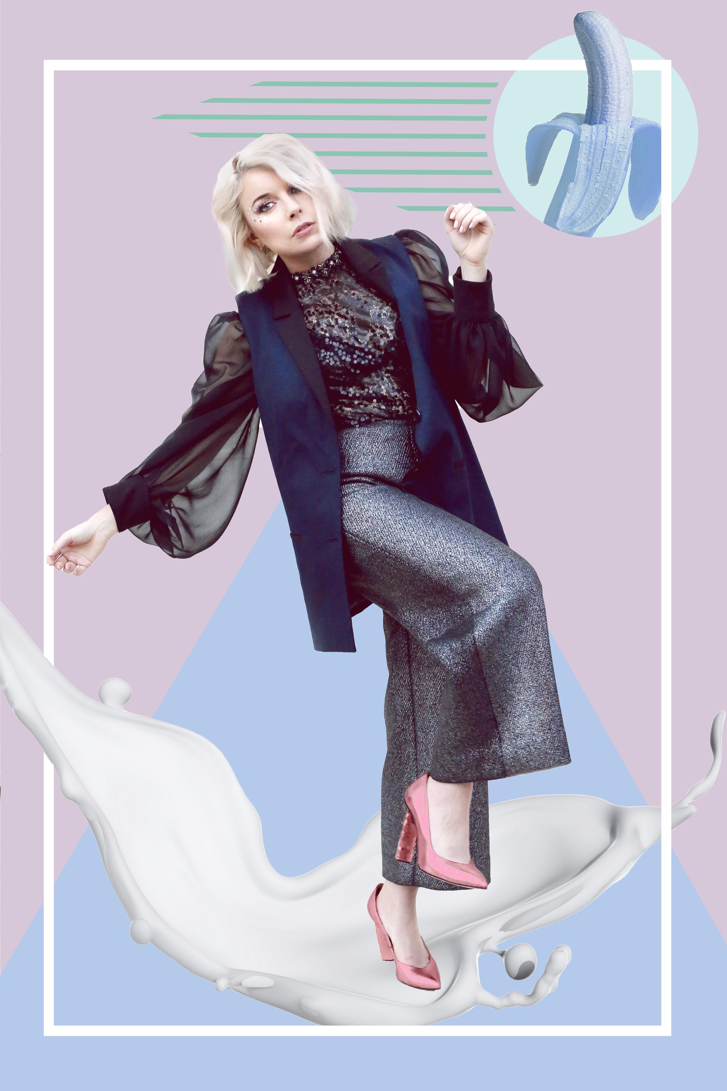 blouse & pants, Emily Daccarett. vest, Rue 58. jewelry, Amarillo. shoes, Melis Yildiz.
