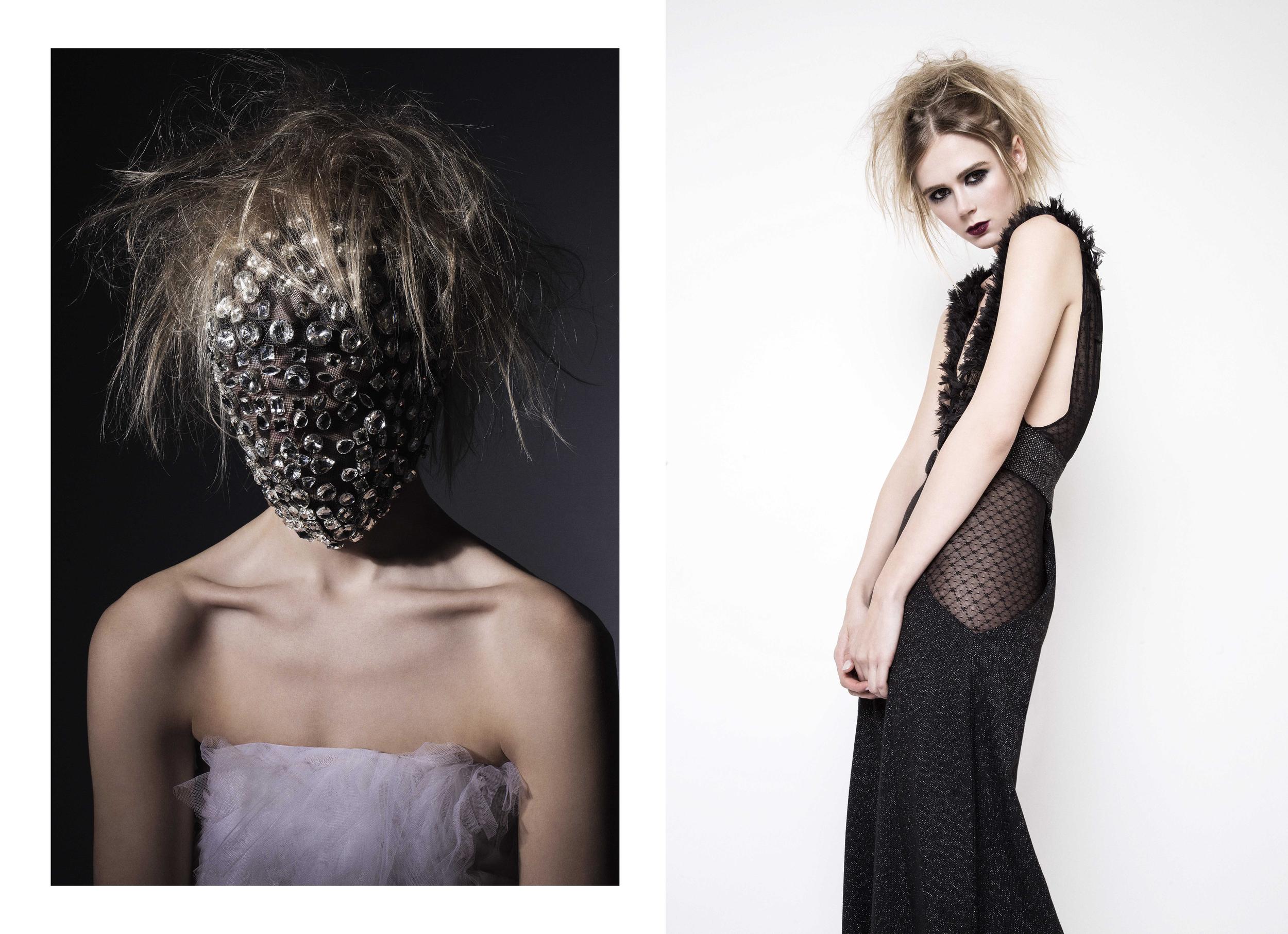 Left - Dress : Jad Ghandour / Headpiece : Cutting Edge Archives Right - Jumpsuit : Roel Rosal