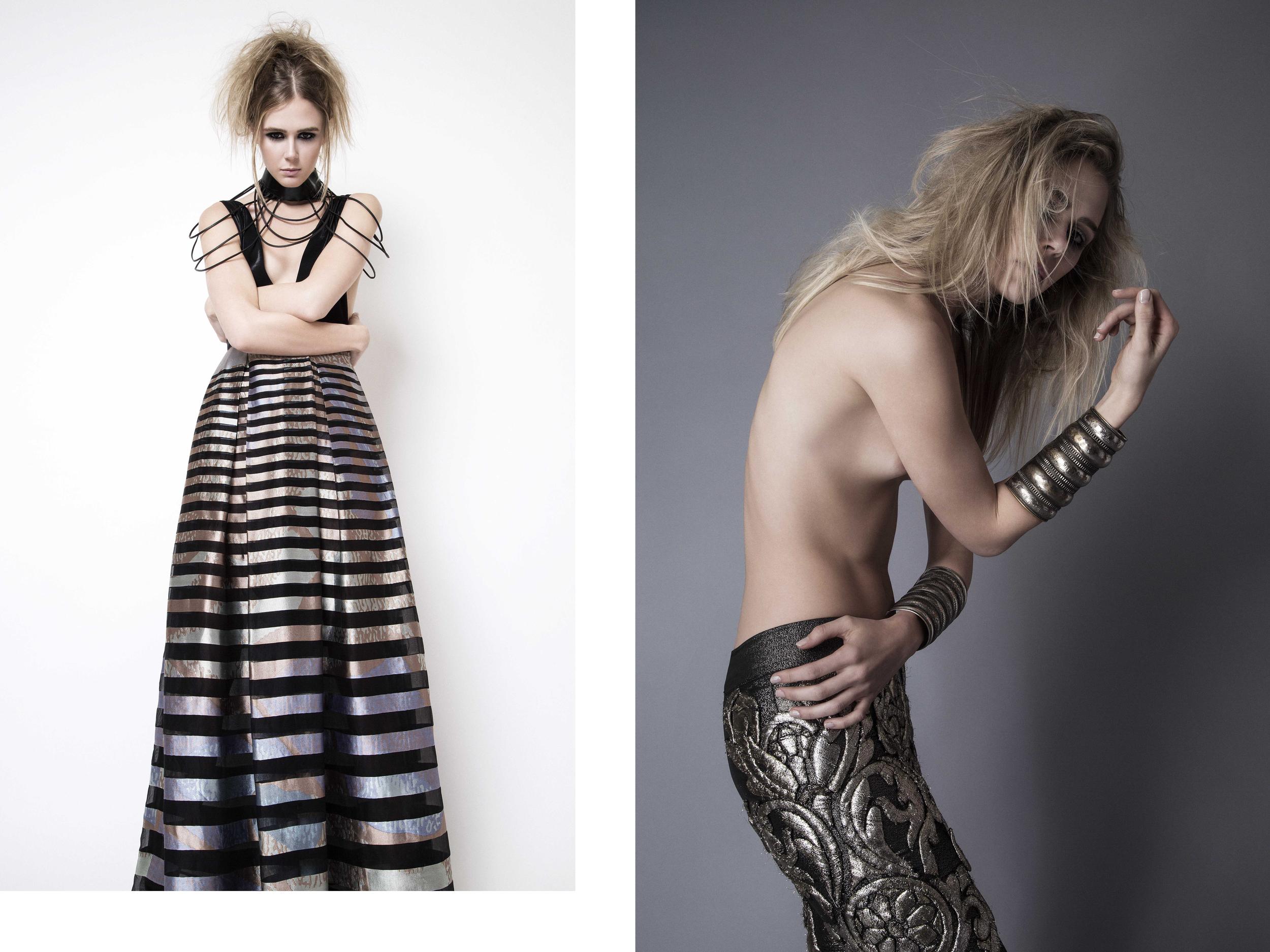 Dress : Pedram Couture / Necklace : Don't Shoot The Messenger Left - Pants : Cary Santiago / Bracelets : Cutting Edge Archive
