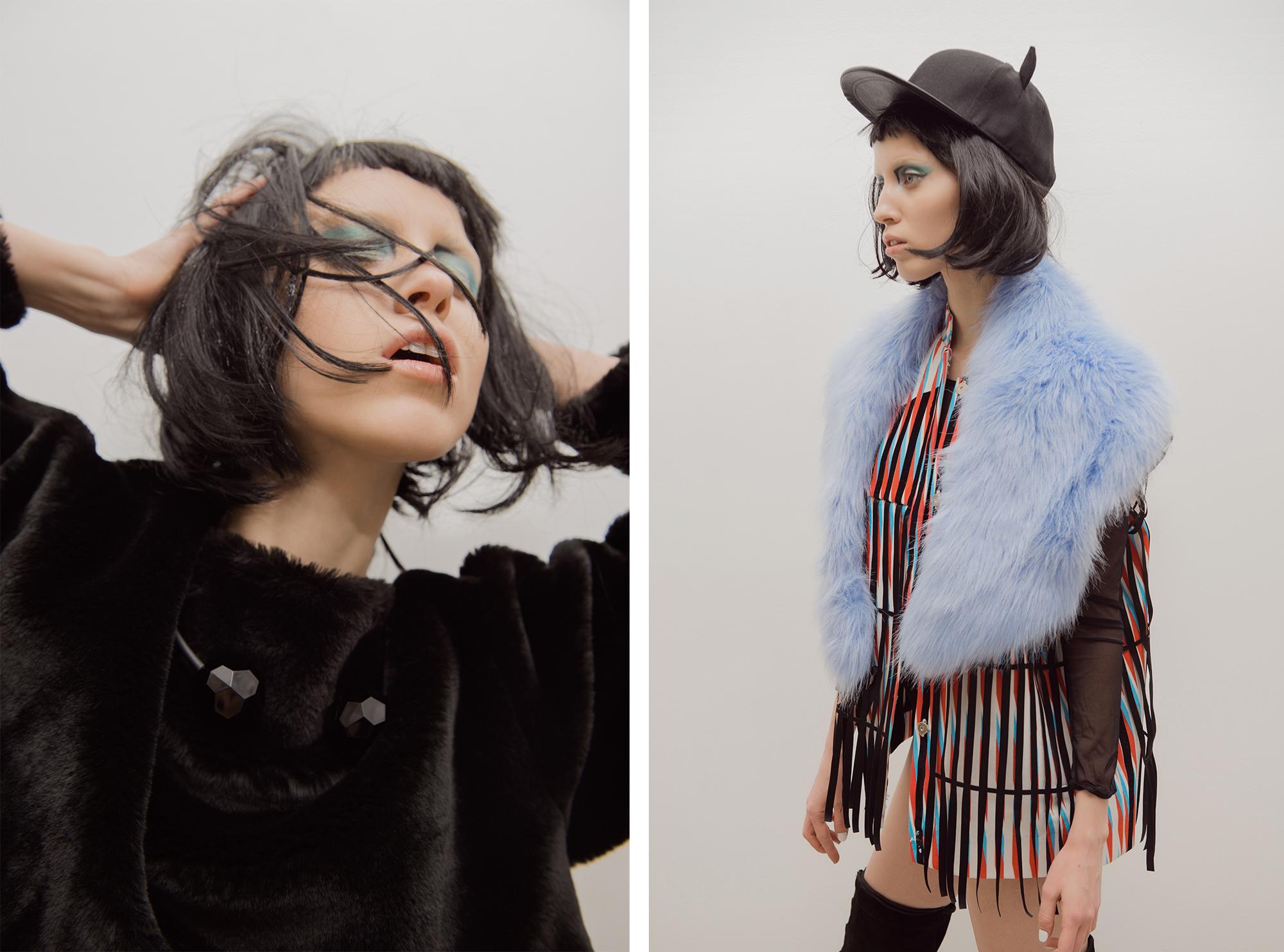 Left:   Fur Coat // Alisa Kuzembaeva  Necklace // H&M     Right:   Snapback // H&M  Vest // Alisa Kuzembaeva  Fur Collar // ASOS  Bodysuit // Oysho  Boots // H&M