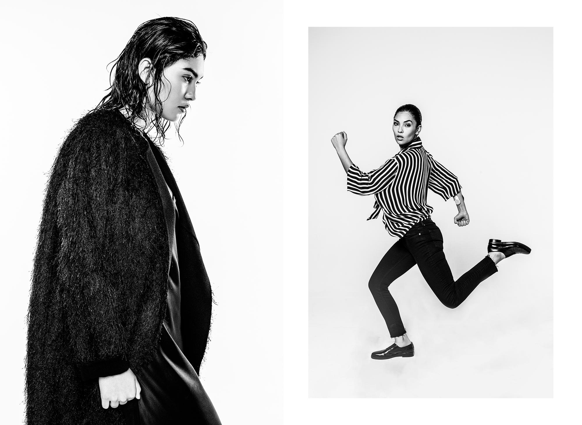 Left:Black Jacket: Sandro Right:Top & Pants: Zara