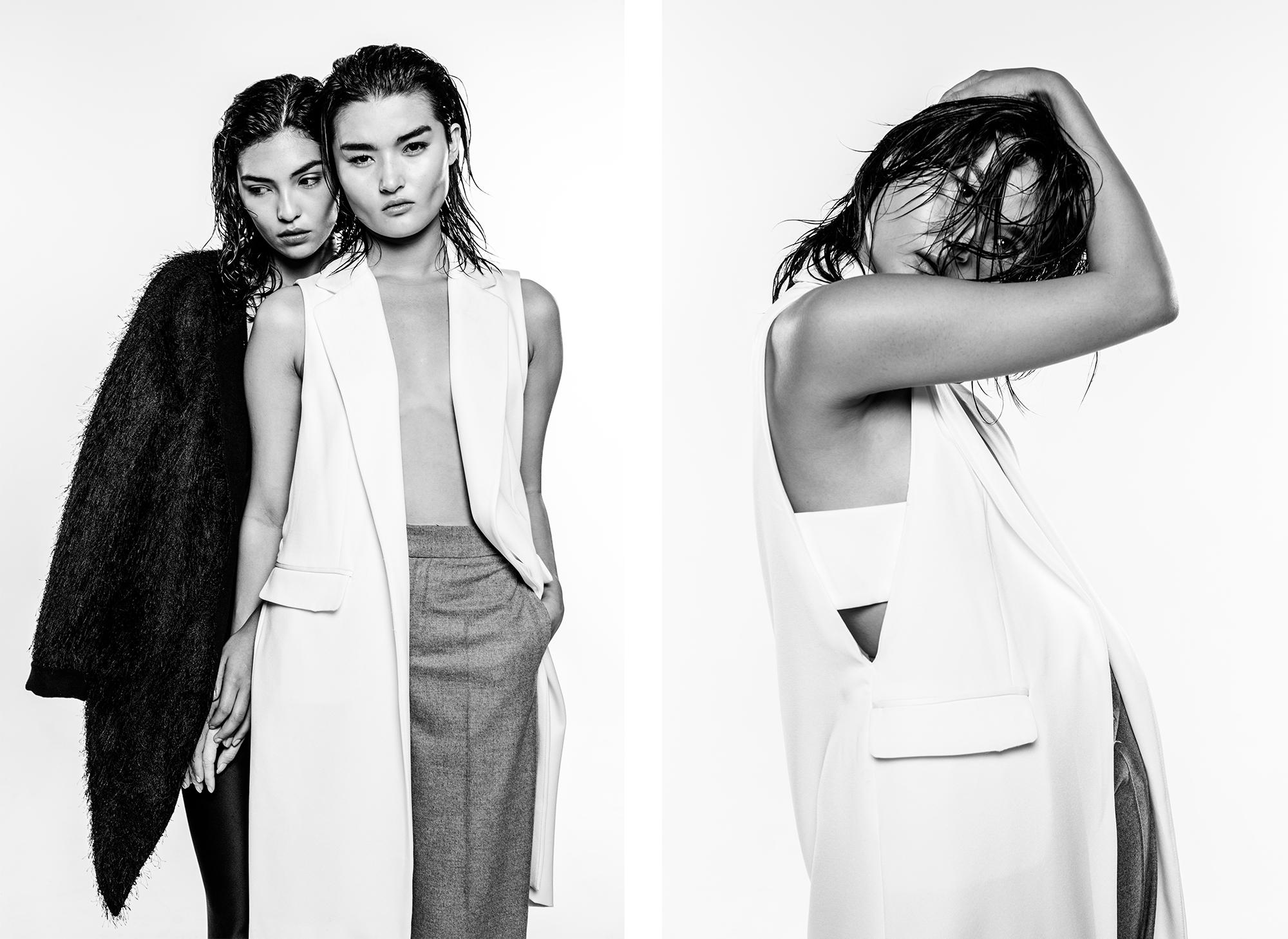 Left: Black Jacket: Sandro Right:White Vest & Pants: Zara