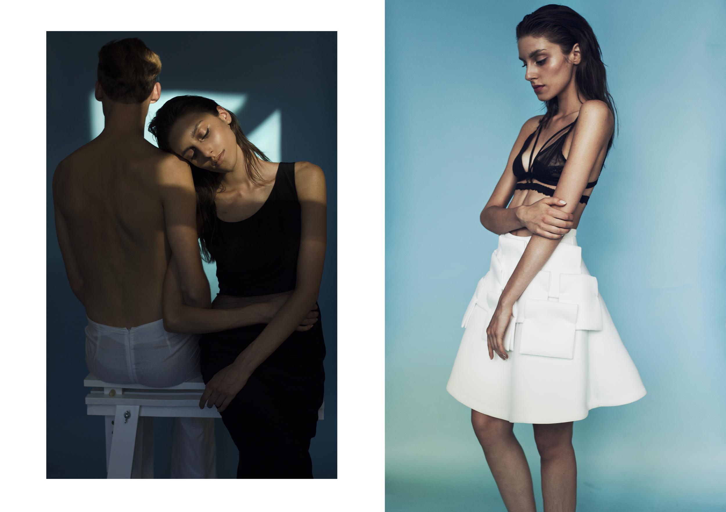 White Pants: Agnieszka Kopek / Dress: Maya Baczynska / Black Bra: Agnieszka Kopek / White Skirt: Maya Baczynska