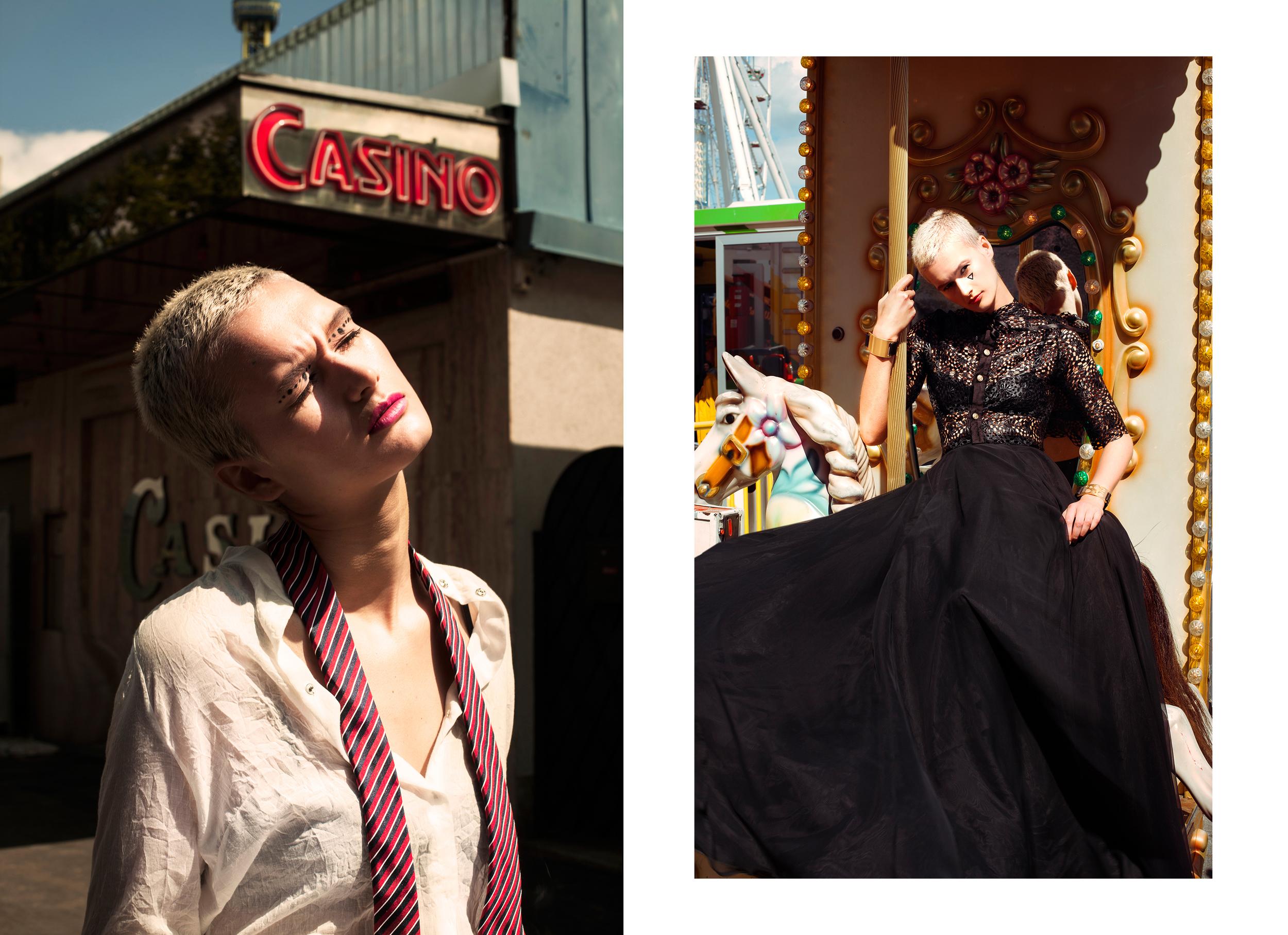 Left /  T  op : Juergen Christian Hoerl /  Tie : Lanvin   Top & Skirt : Maiken K /  Jewelry:  AND_I