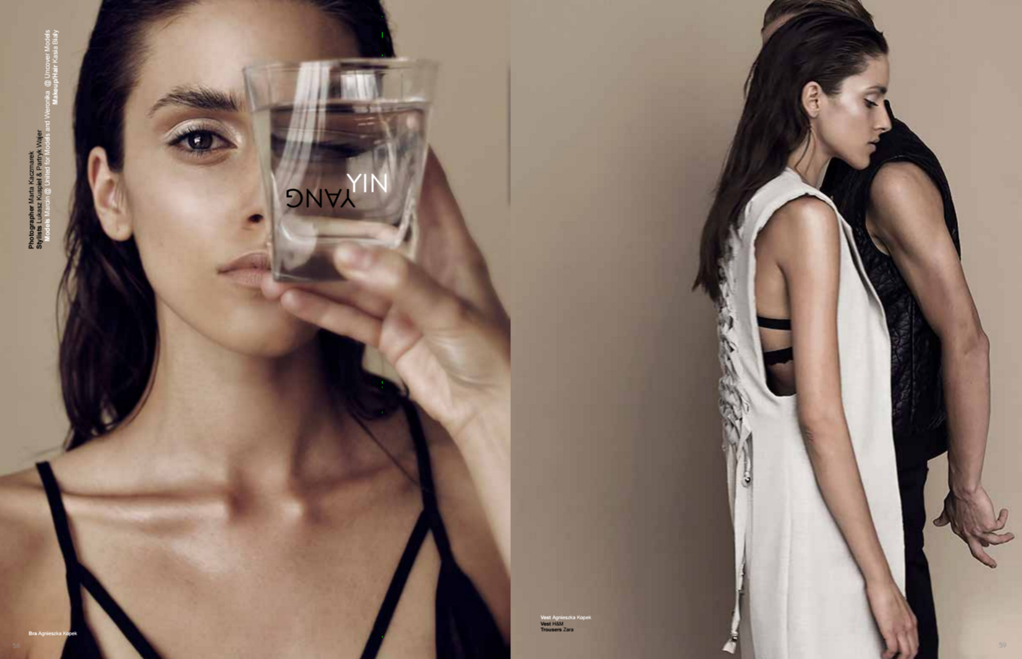 White Vest:  Agnieszka Kopek / Black Vest:  Giacomo Conti / Black Pants:  Synthetic