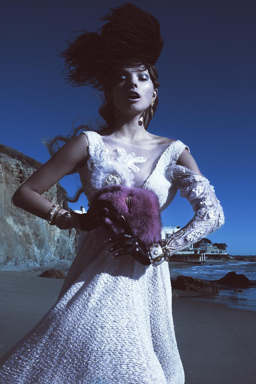 Dress  Michelle Hebert  / Headpiece  Flori Couture  / Jewelry  House of Emmanuele
