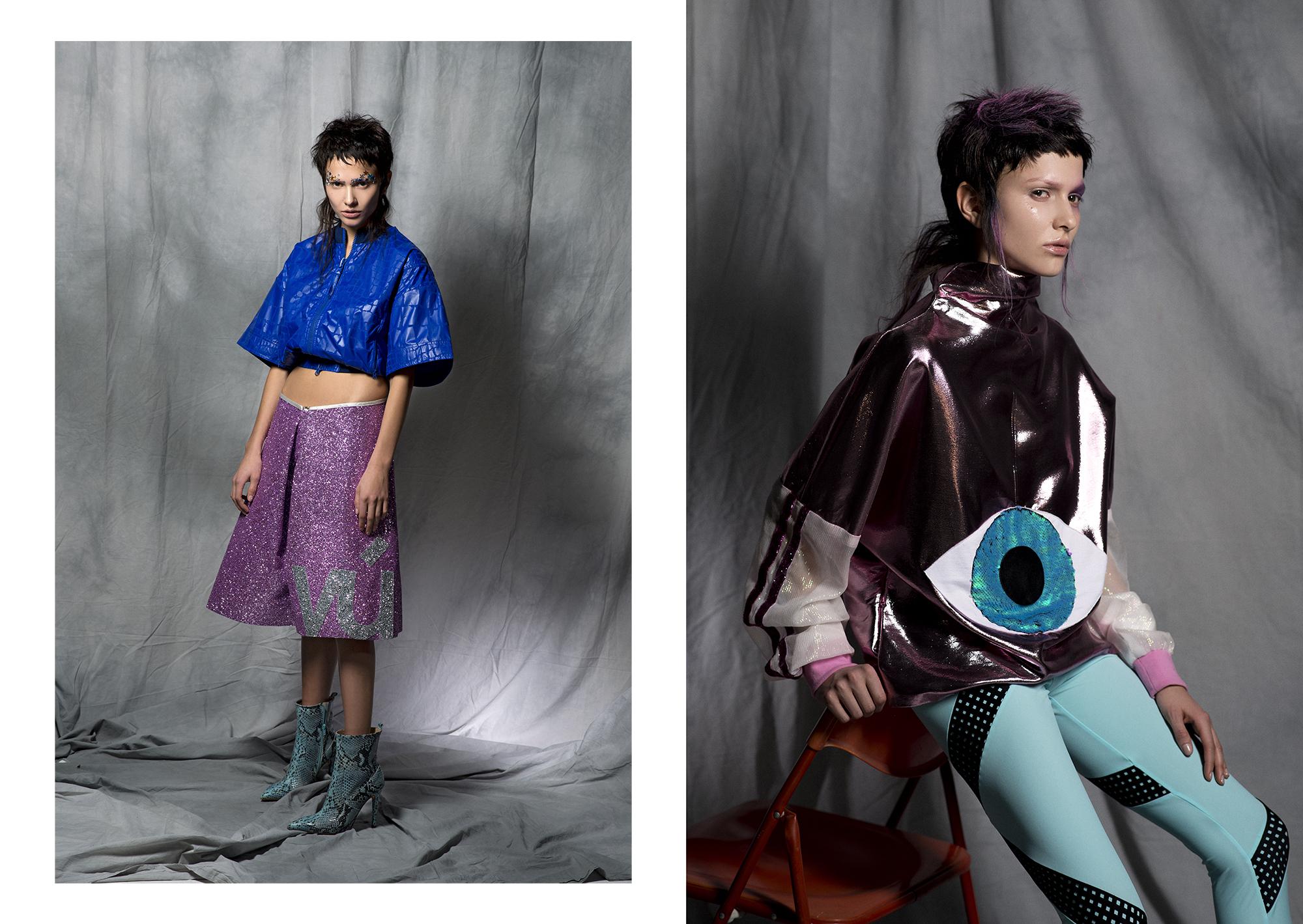 Jacket:   Stella McCartney  /  Pants : Vivienne Uischner /  Boots : Mai Piu' Senza  Right /  Top : Vivienne Uischner /  Leggings :  DRESP