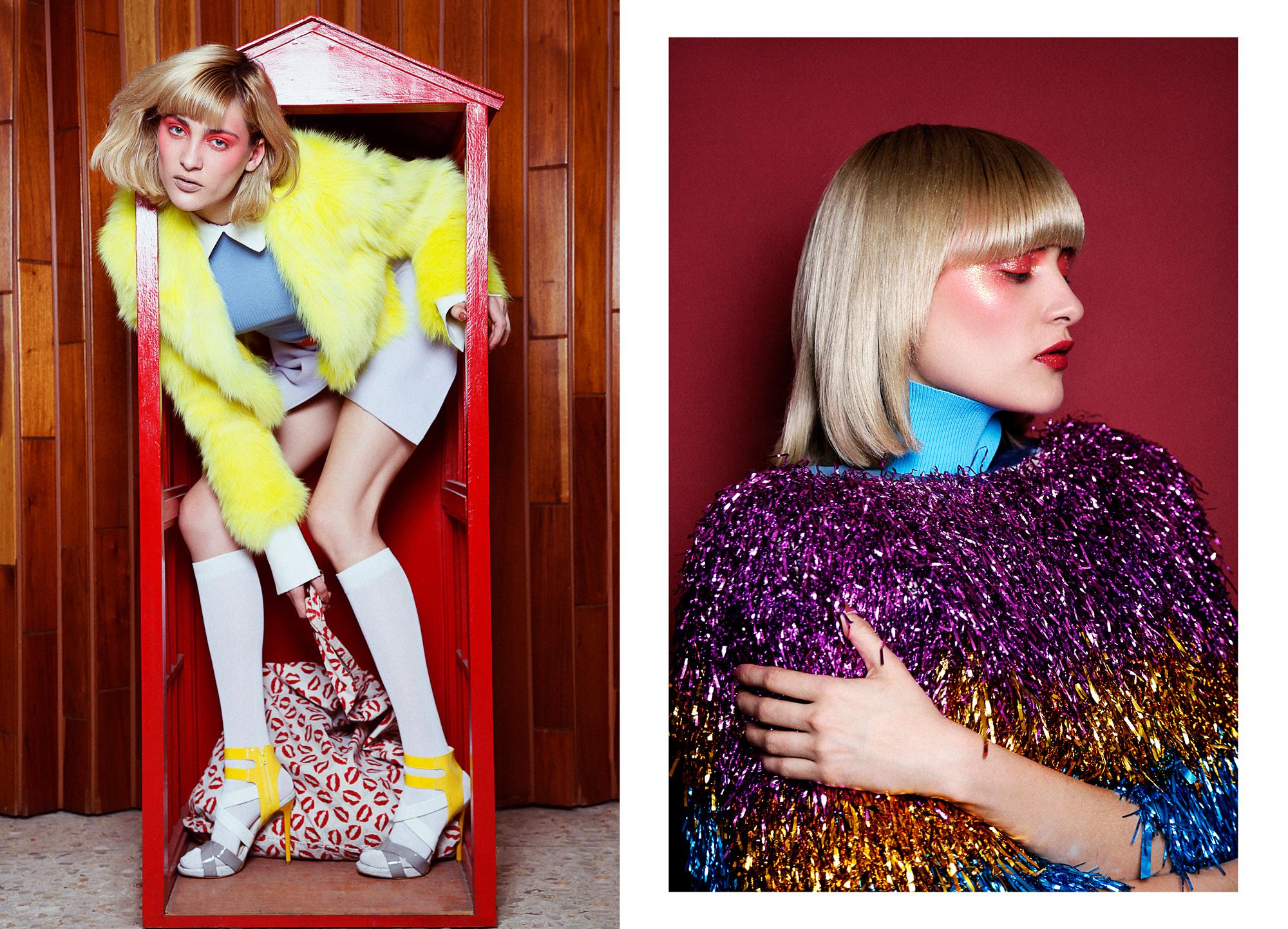 Fur Coat : Iceberg /  Blouse & Skirt : Gregorio Cayetano /  Belt : Gucci /  Handbag : Mancandy /  Shoes : Brantano  R ight //  Dress : Bimba y Lola /  Coat : Tenor de Mesones