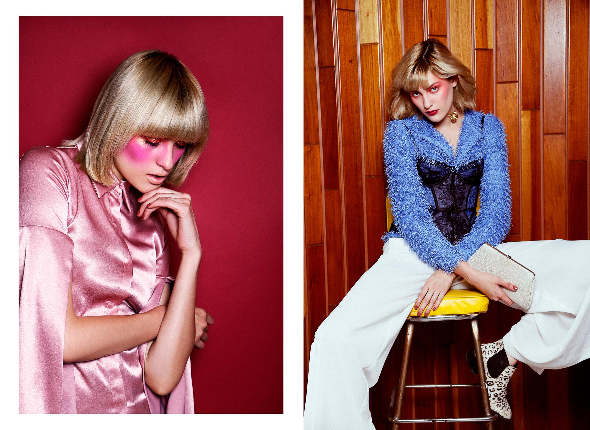 Pink Blouse : Gregorio Cayetano  R ight //  Suerter : Pink Magnolia /  Corset:  Calvin Klein /  Necklace : Fernando Rodriguez /  Clutch : Miu Miu /  Pants : Adolfo Dominguez /  Shoes : Bimba y Lola