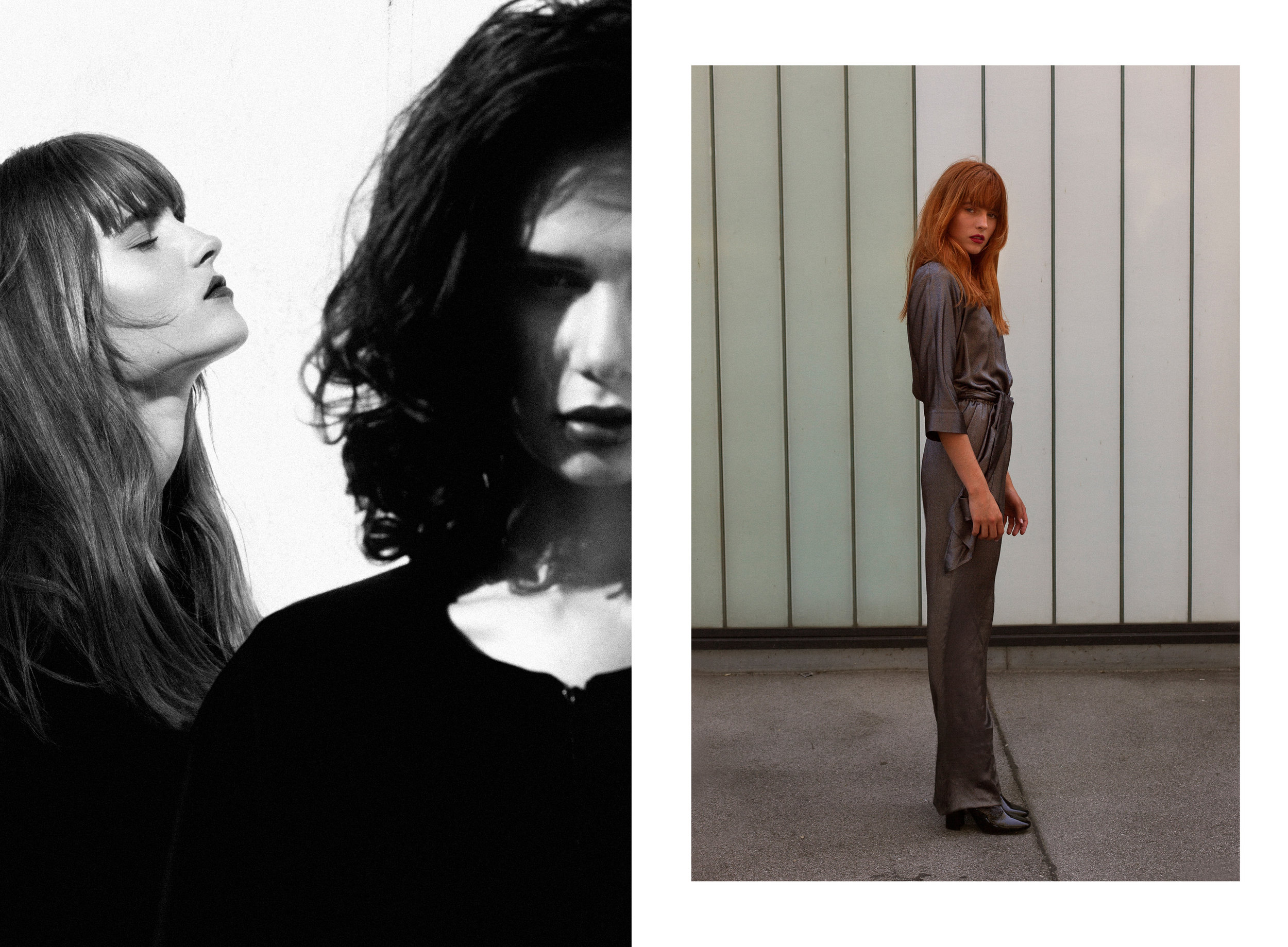 Left / Dress: Natalie Unger  Right / Dress: Maurizio Giambra
