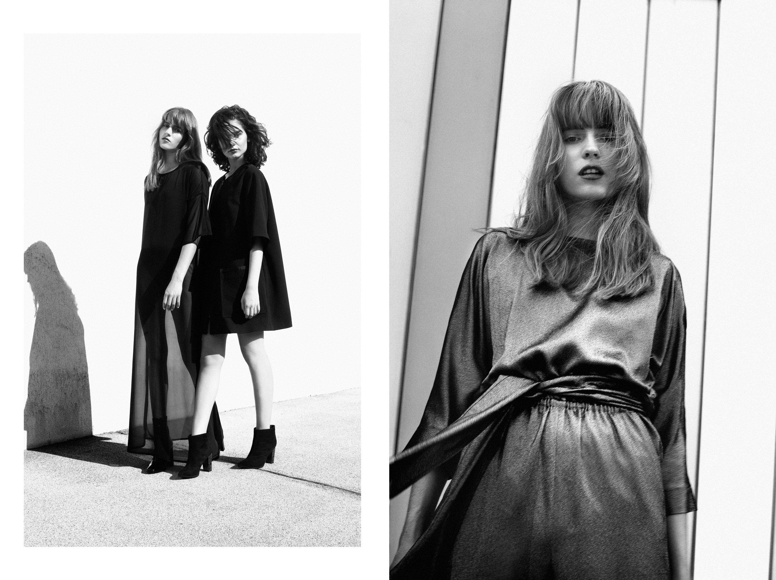 Left / Dress: Natalie Unger / Shoes: Buffalo Right / Dress: Maurizio Giambra